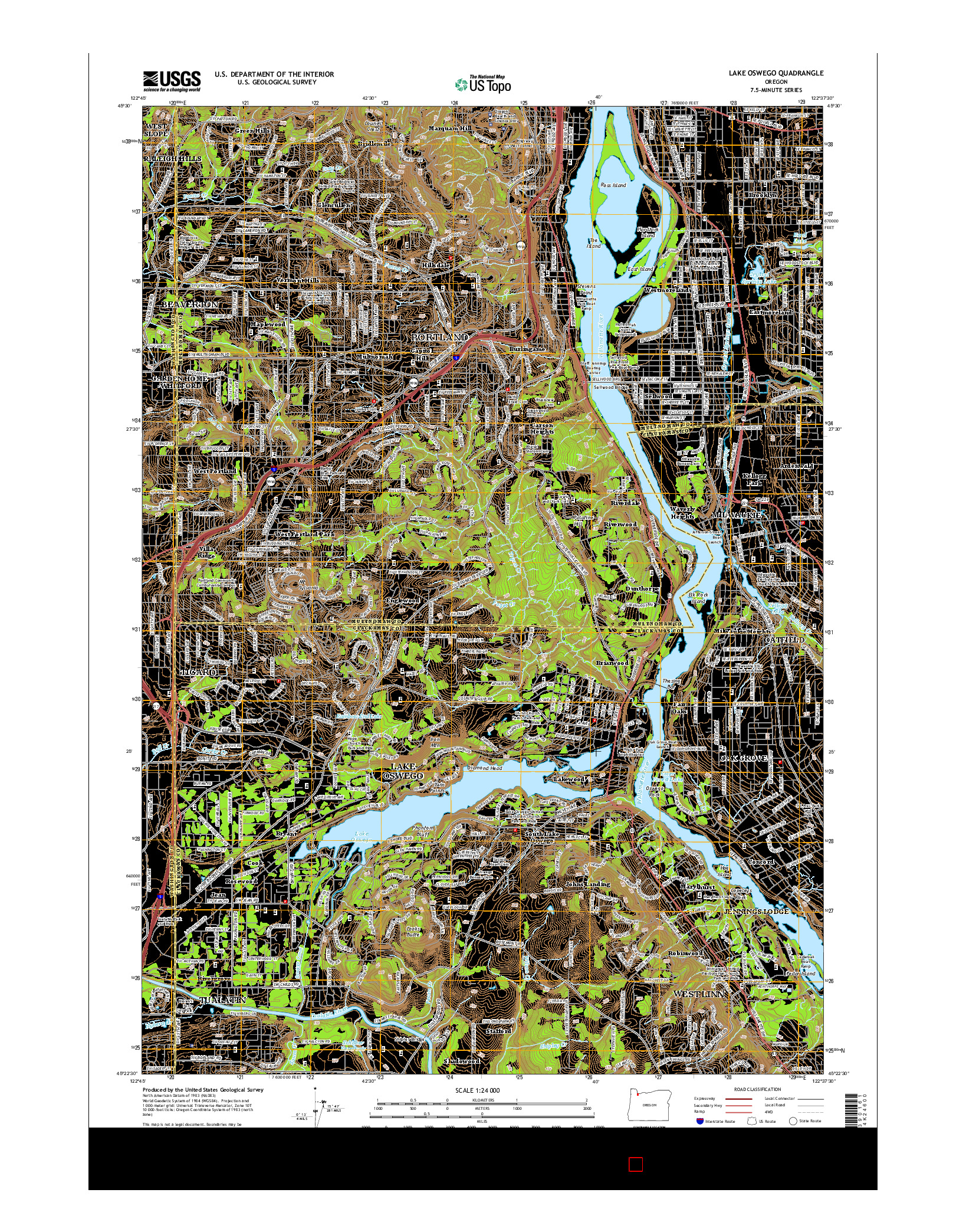 USGS US TOPO 7.5-MINUTE MAP FOR LAKE OSWEGO, OR 2014