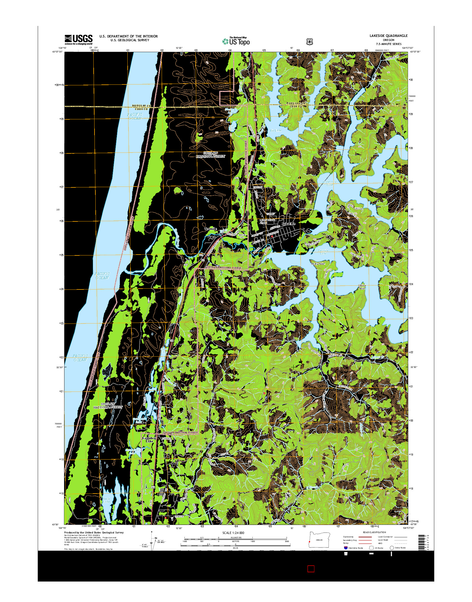 USGS US TOPO 7.5-MINUTE MAP FOR LAKESIDE, OR 2014