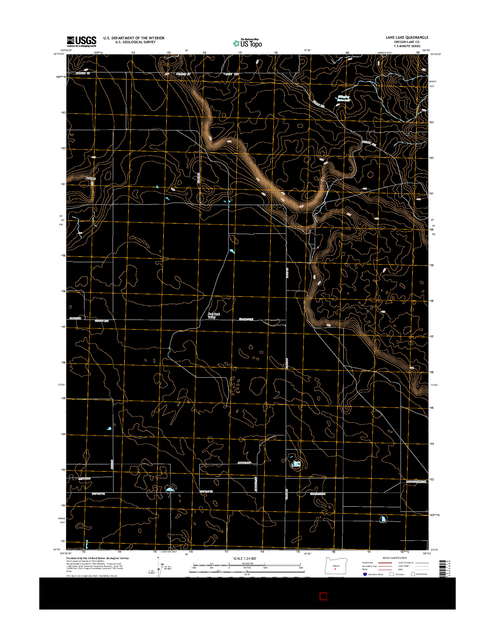 USGS US TOPO 7.5-MINUTE MAP FOR LANE LAKE, OR 2014