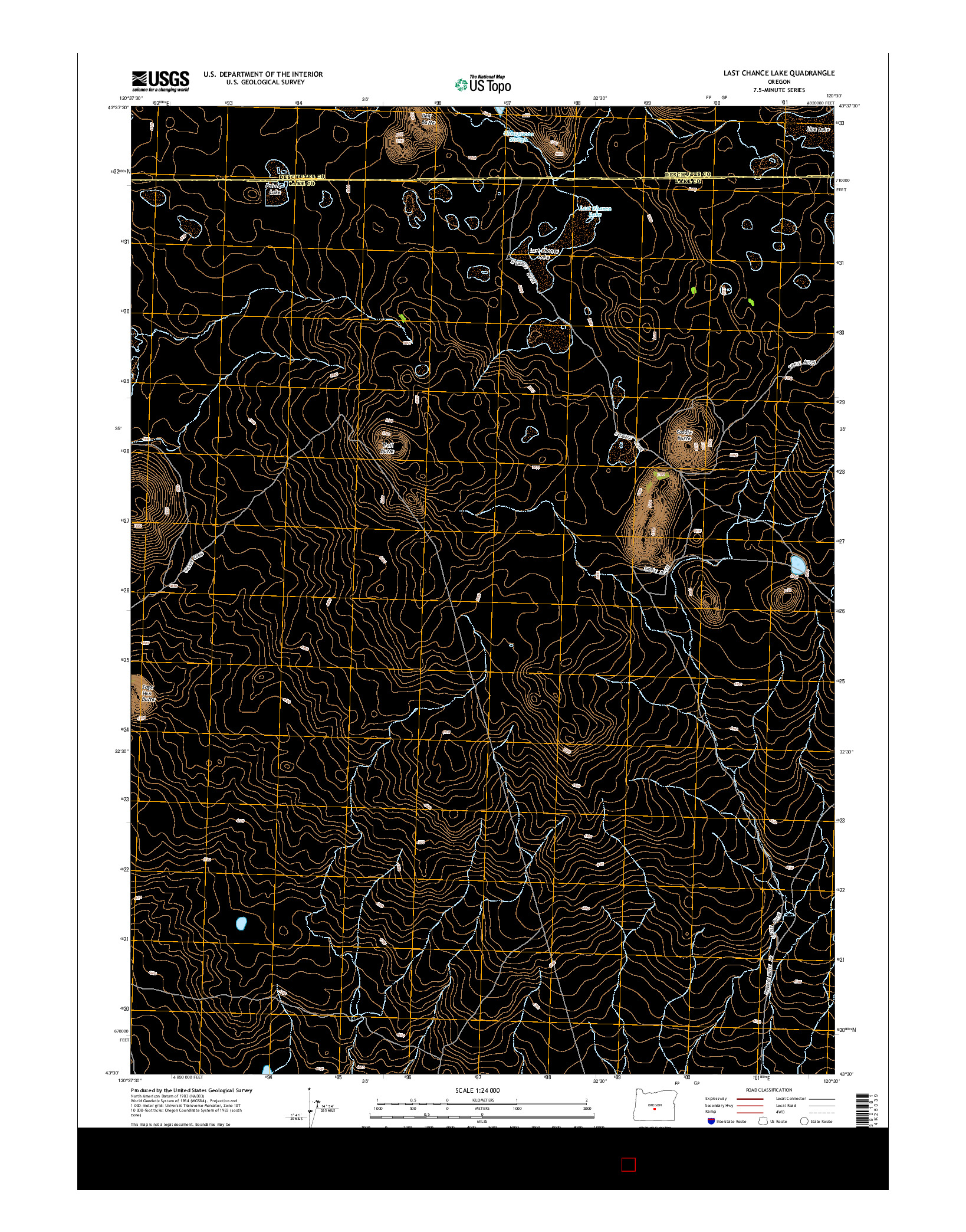 USGS US TOPO 7.5-MINUTE MAP FOR LAST CHANCE LAKE, OR 2014