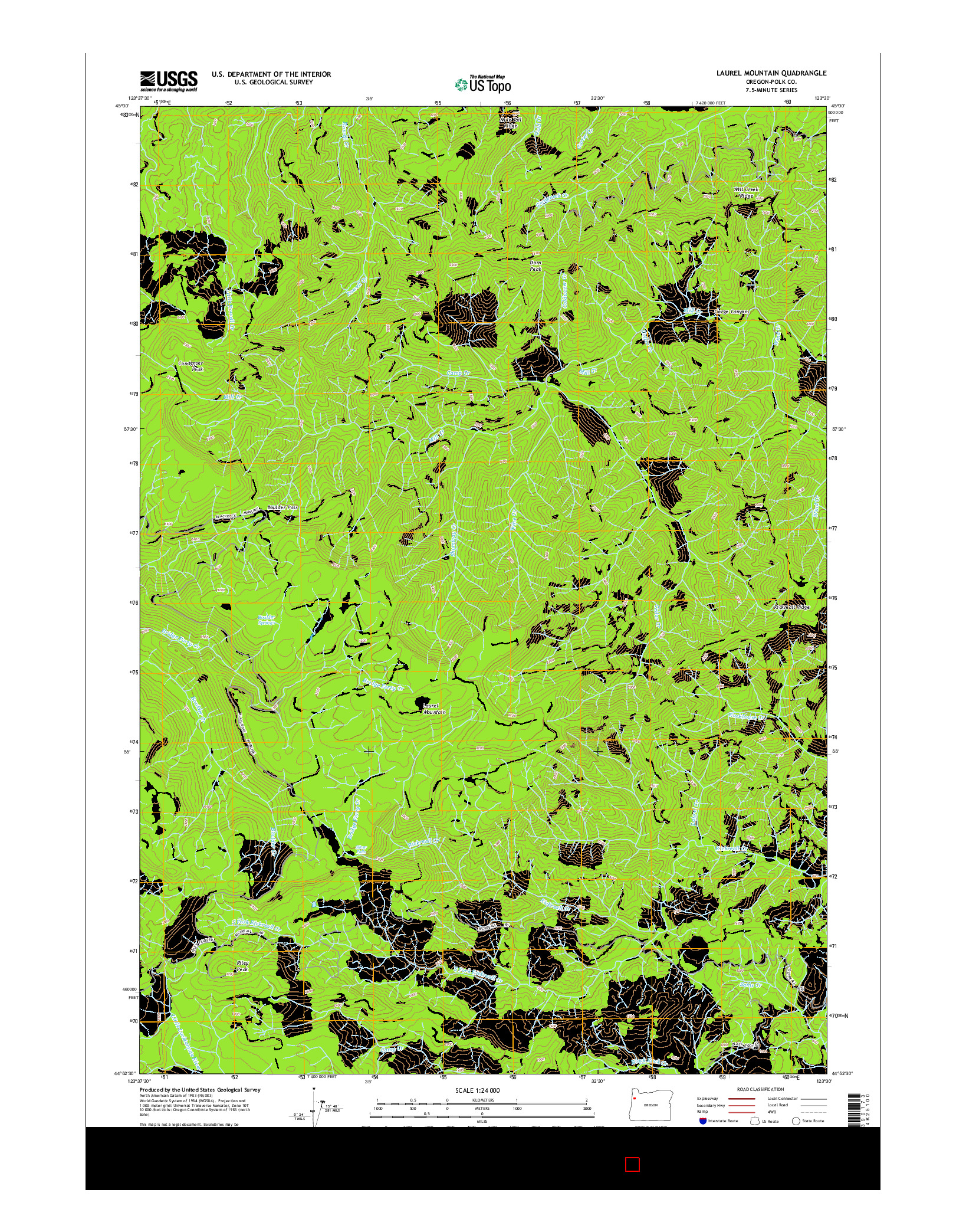 USGS US TOPO 7.5-MINUTE MAP FOR LAUREL MOUNTAIN, OR 2014