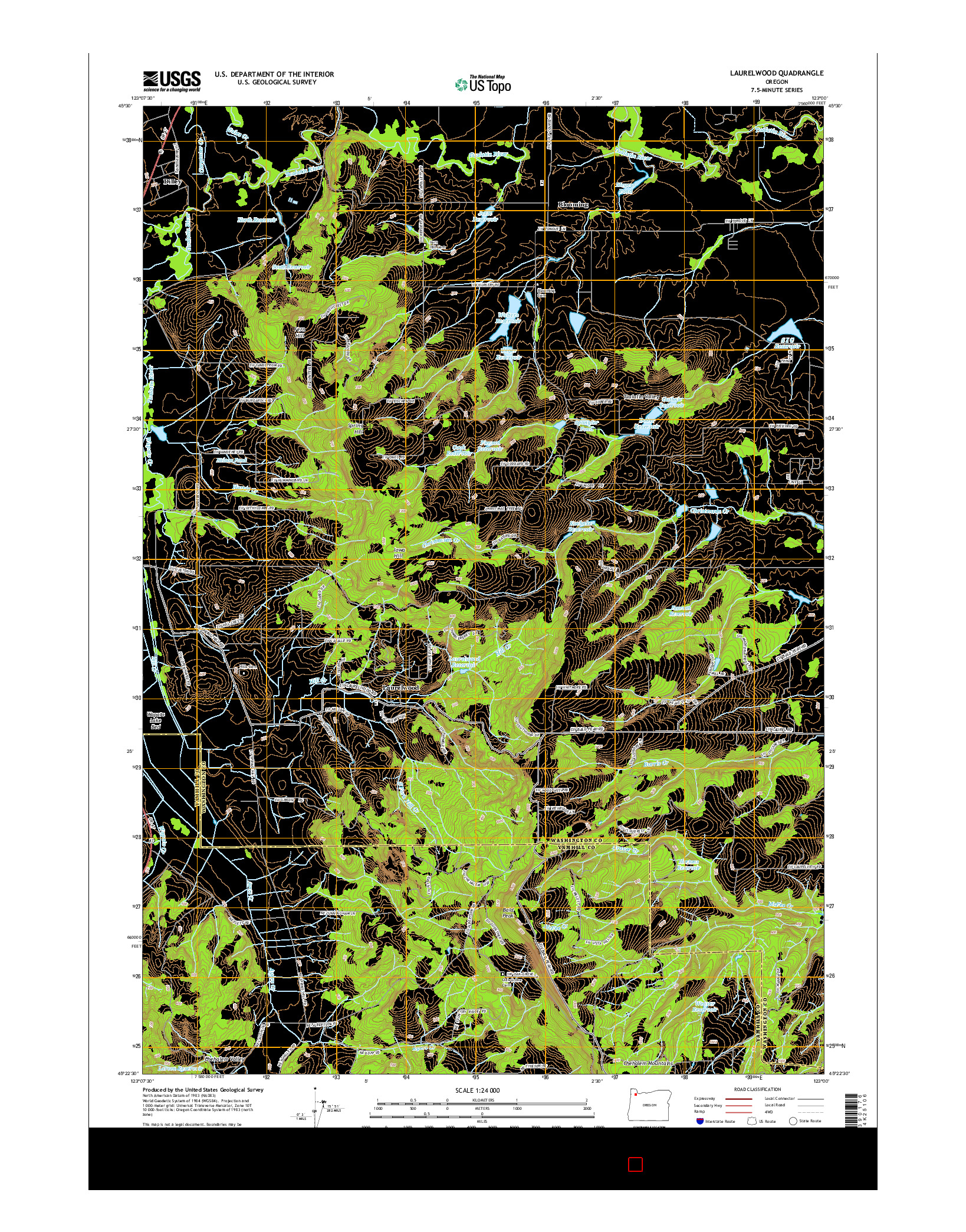 USGS US TOPO 7.5-MINUTE MAP FOR LAURELWOOD, OR 2014