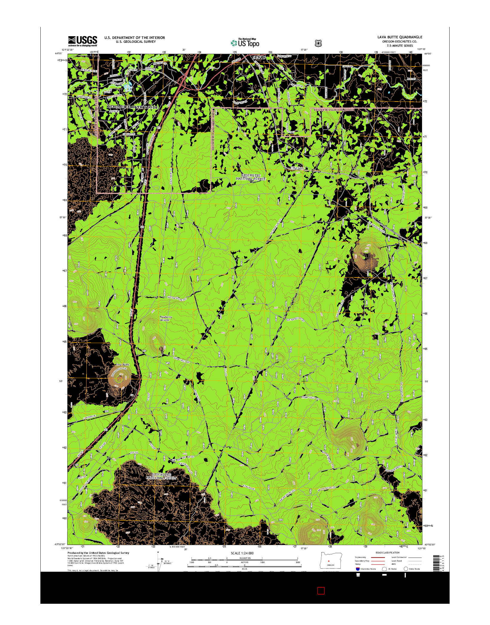 USGS US TOPO 7.5-MINUTE MAP FOR LAVA BUTTE, OR 2014