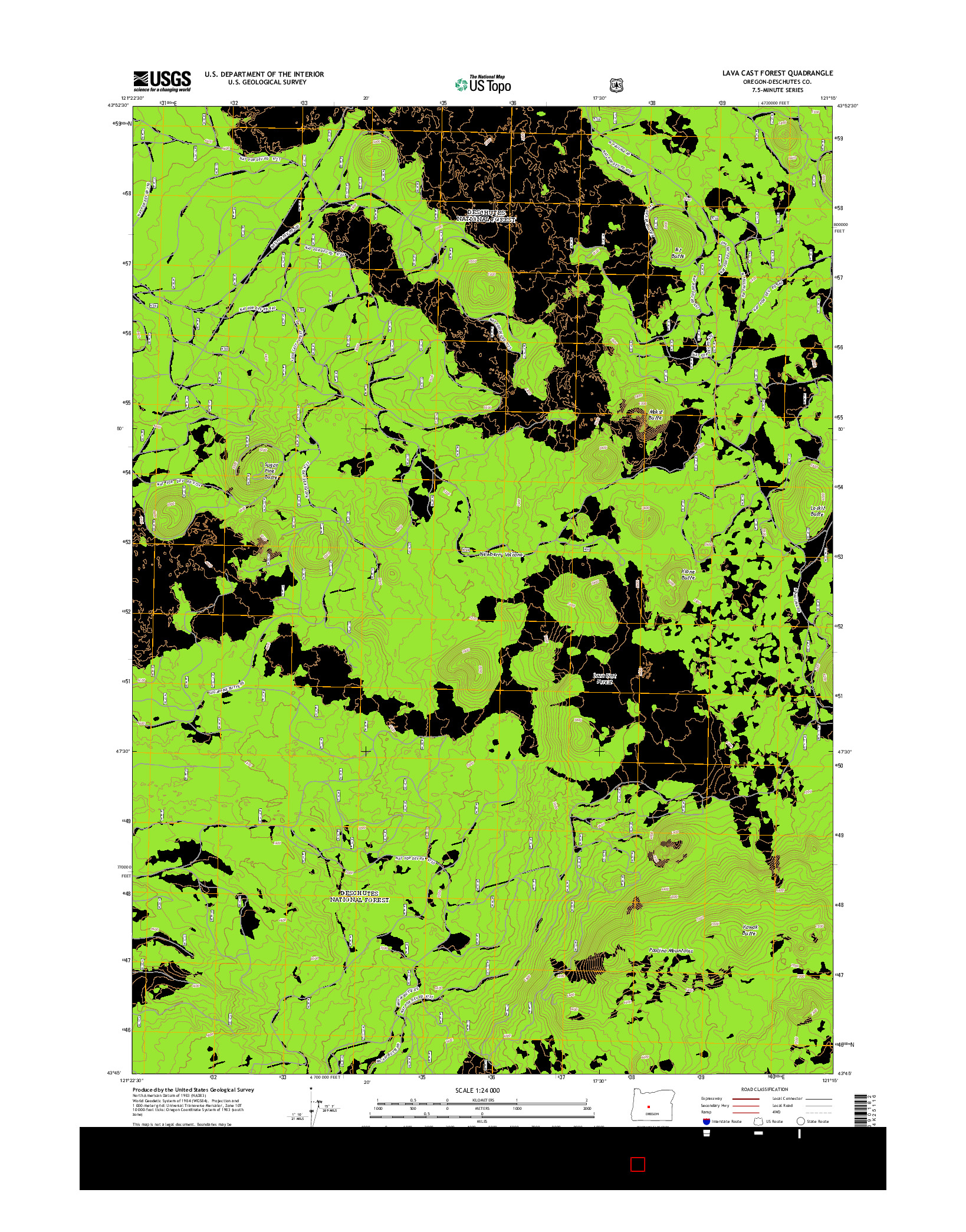 USGS US TOPO 7.5-MINUTE MAP FOR LAVA CAST FOREST, OR 2014
