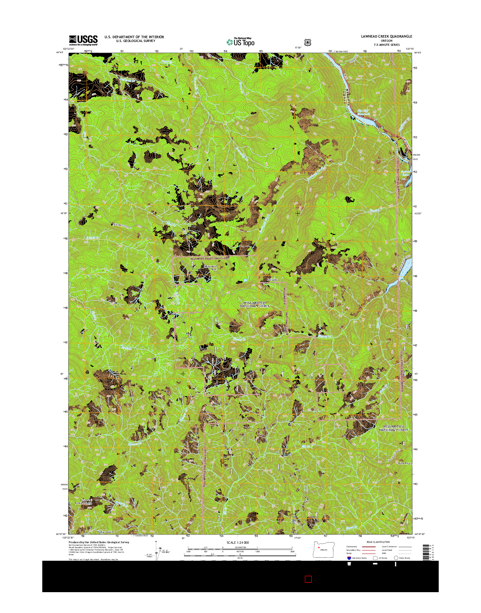 USGS US TOPO 7.5-MINUTE MAP FOR LAWHEAD CREEK, OR 2014