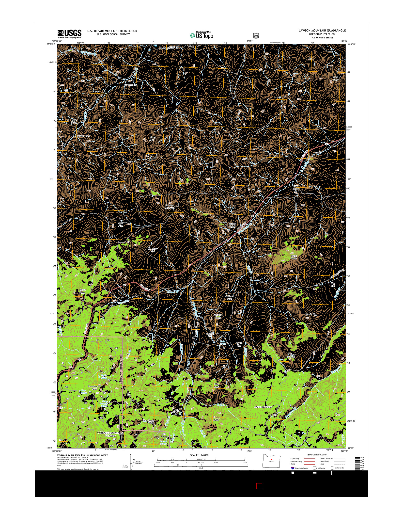 USGS US TOPO 7.5-MINUTE MAP FOR LAWSON MOUNTAIN, OR 2014