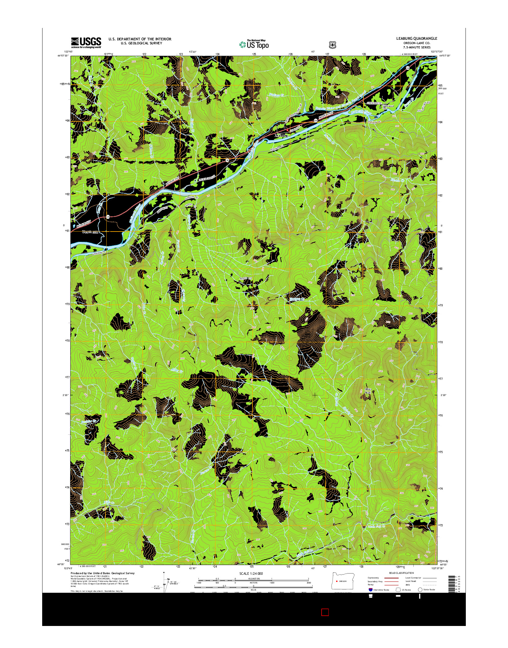 USGS US TOPO 7.5-MINUTE MAP FOR LEABURG, OR 2014