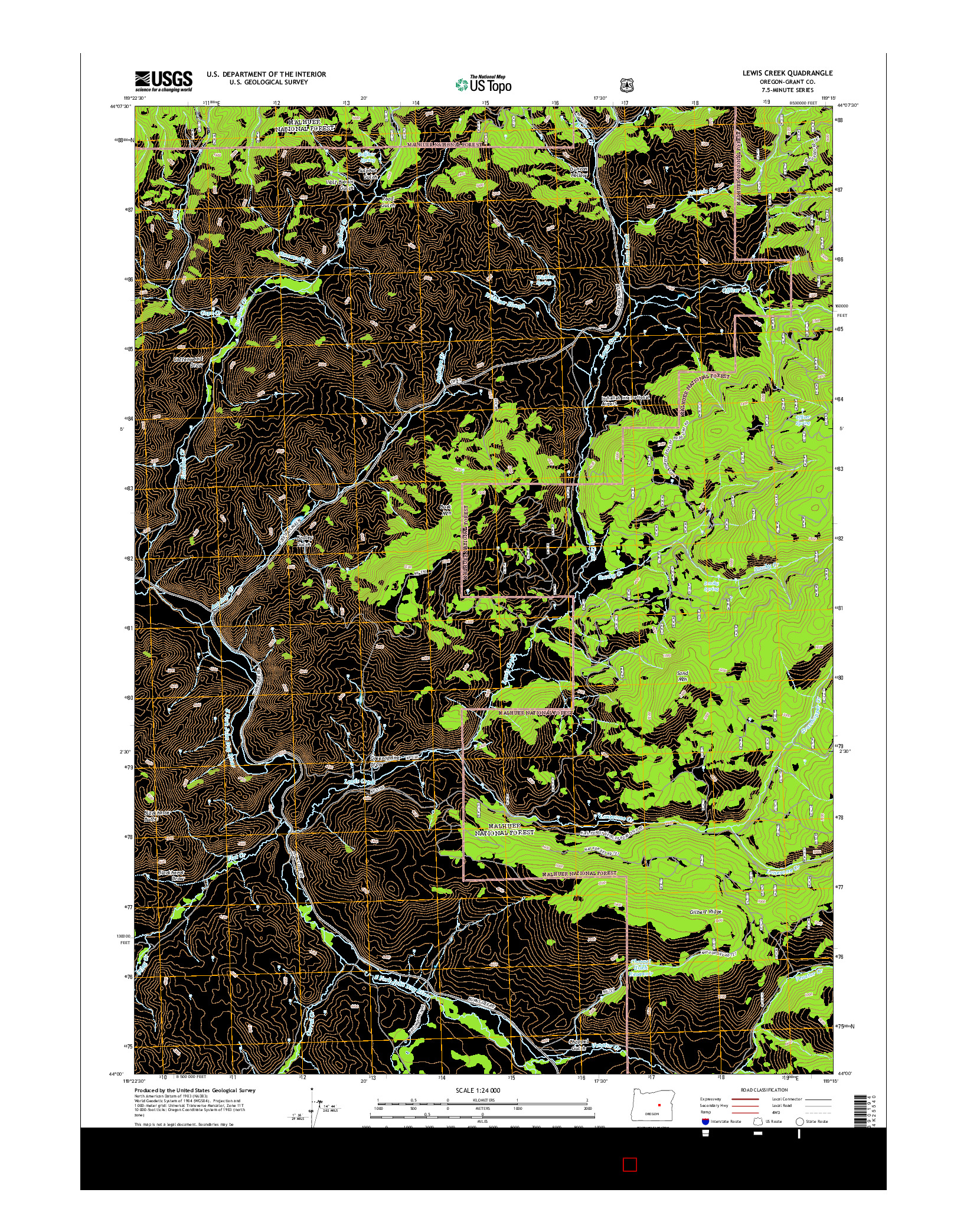 USGS US TOPO 7.5-MINUTE MAP FOR LEWIS CREEK, OR 2014