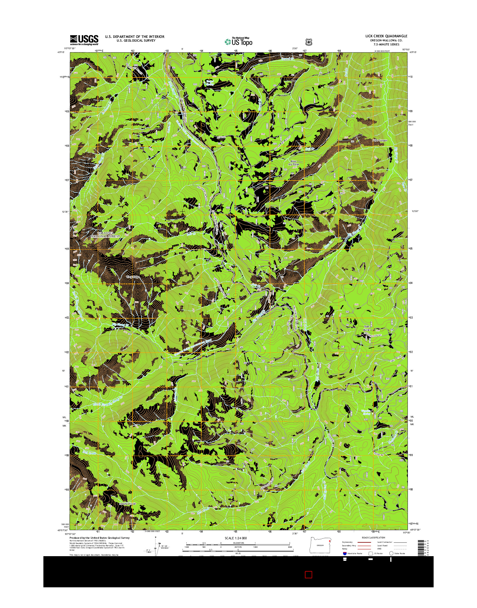 USGS US TOPO 7.5-MINUTE MAP FOR LICK CREEK, OR 2014