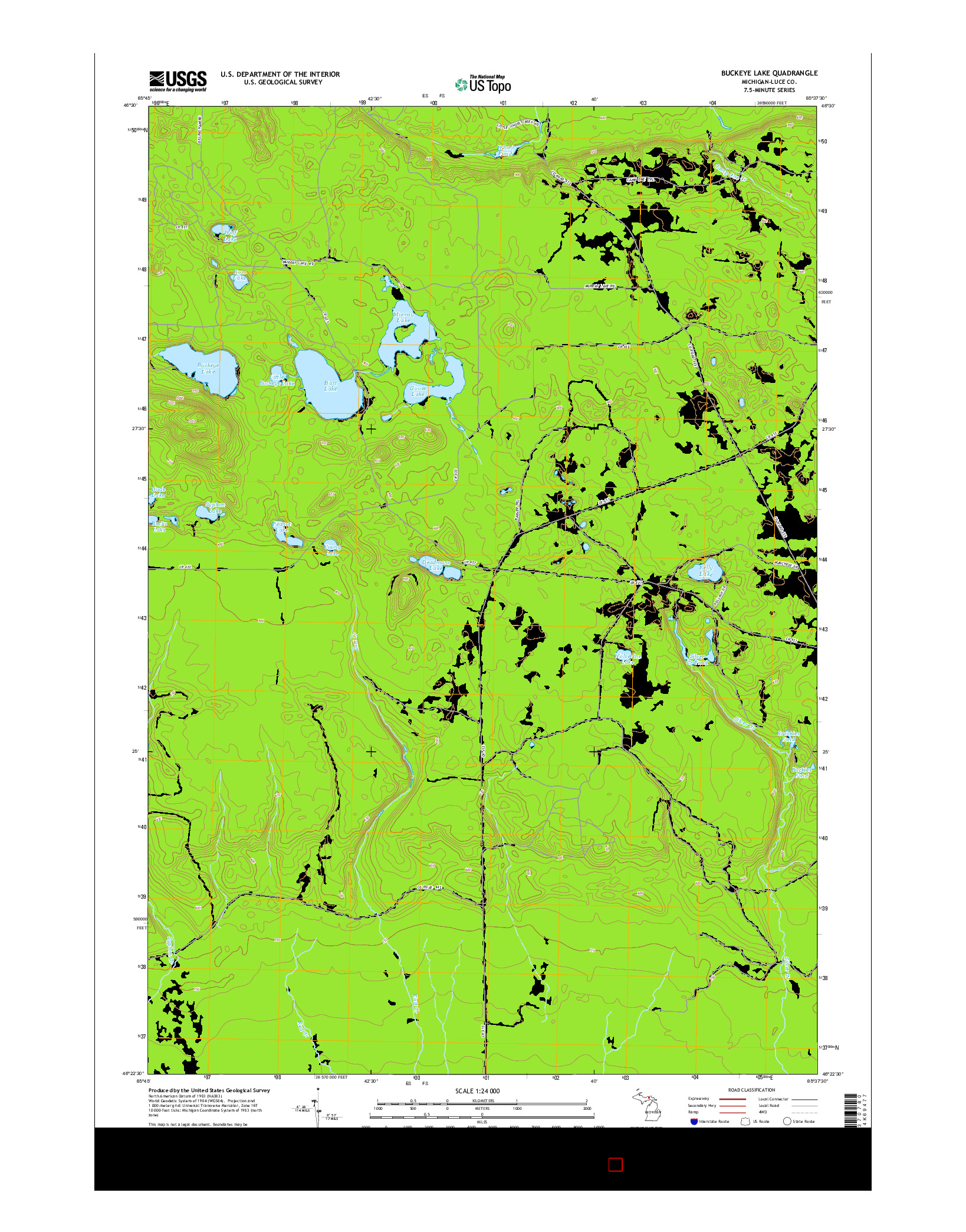 USGS US TOPO 7.5-MINUTE MAP FOR BUCKEYE LAKE, MI 2014