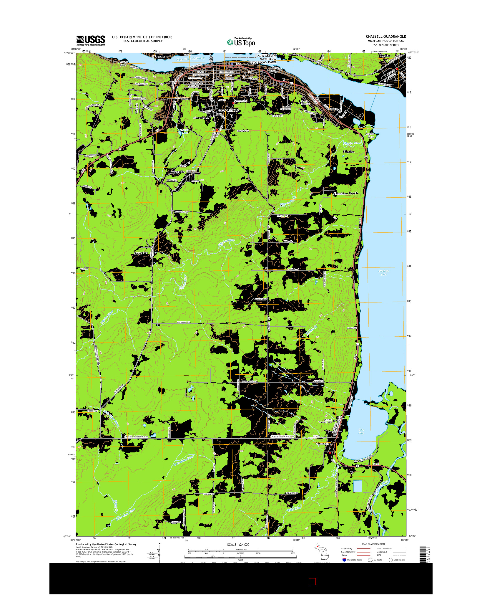 USGS US TOPO 7.5-MINUTE MAP FOR CHASSELL, MI 2014