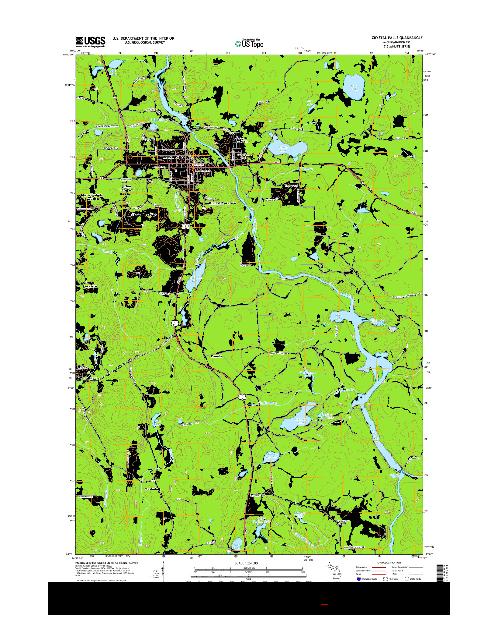 USGS US TOPO 7.5-MINUTE MAP FOR CRYSTAL FALLS, MI 2014