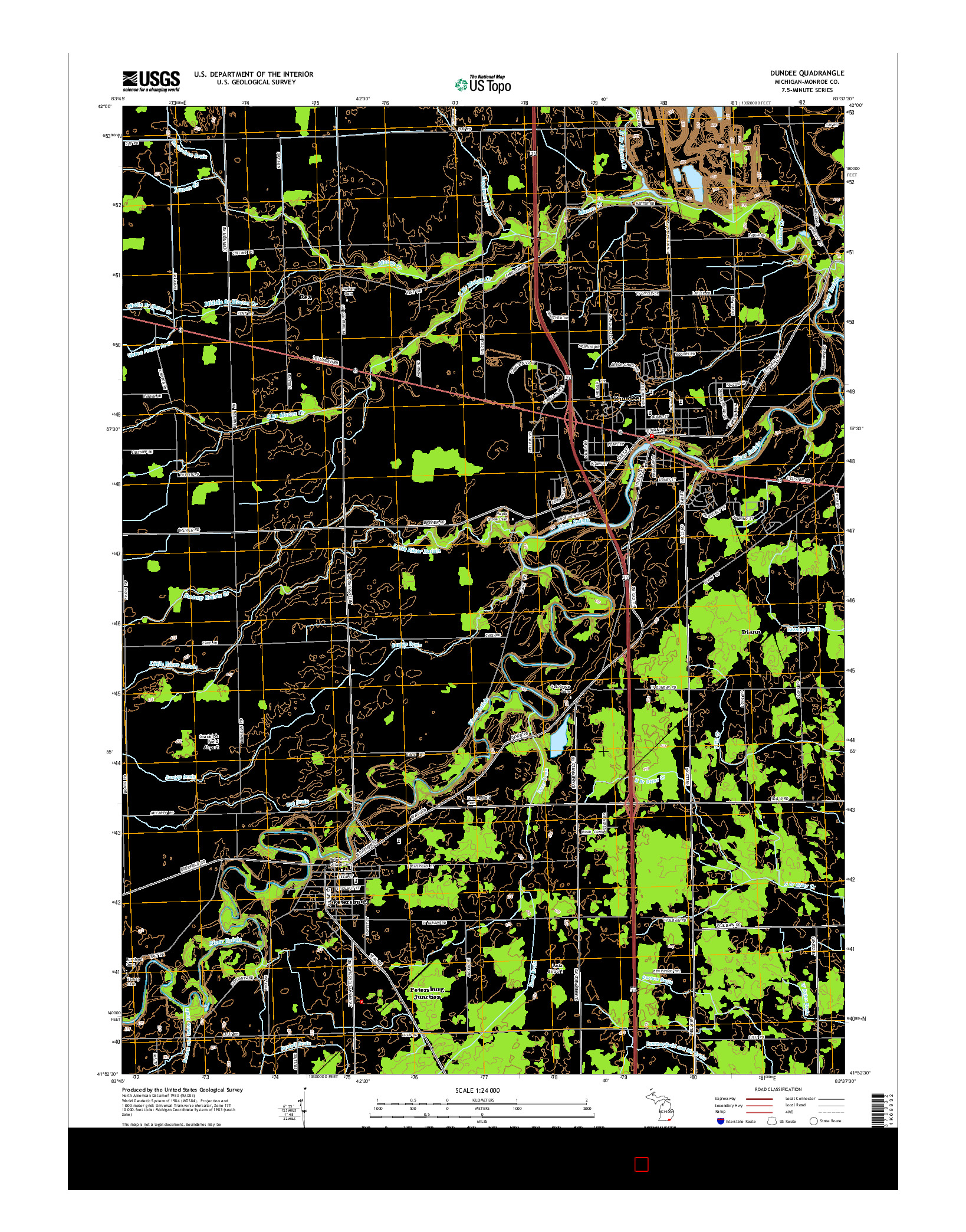 USGS US TOPO 7.5-MINUTE MAP FOR DUNDEE, MI 2014