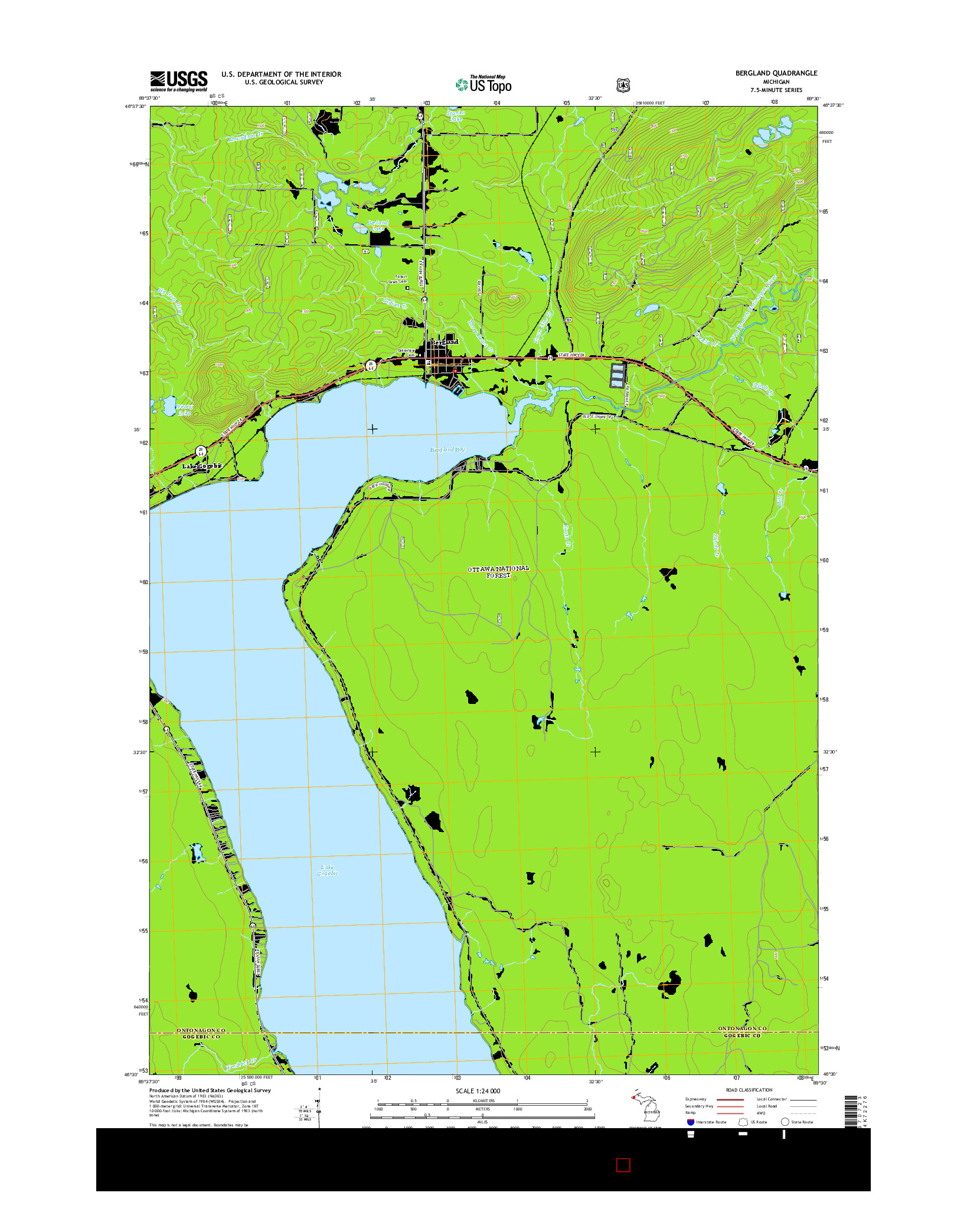 USGS US TOPO 7.5-MINUTE MAP FOR BERGLAND, MI 2014
