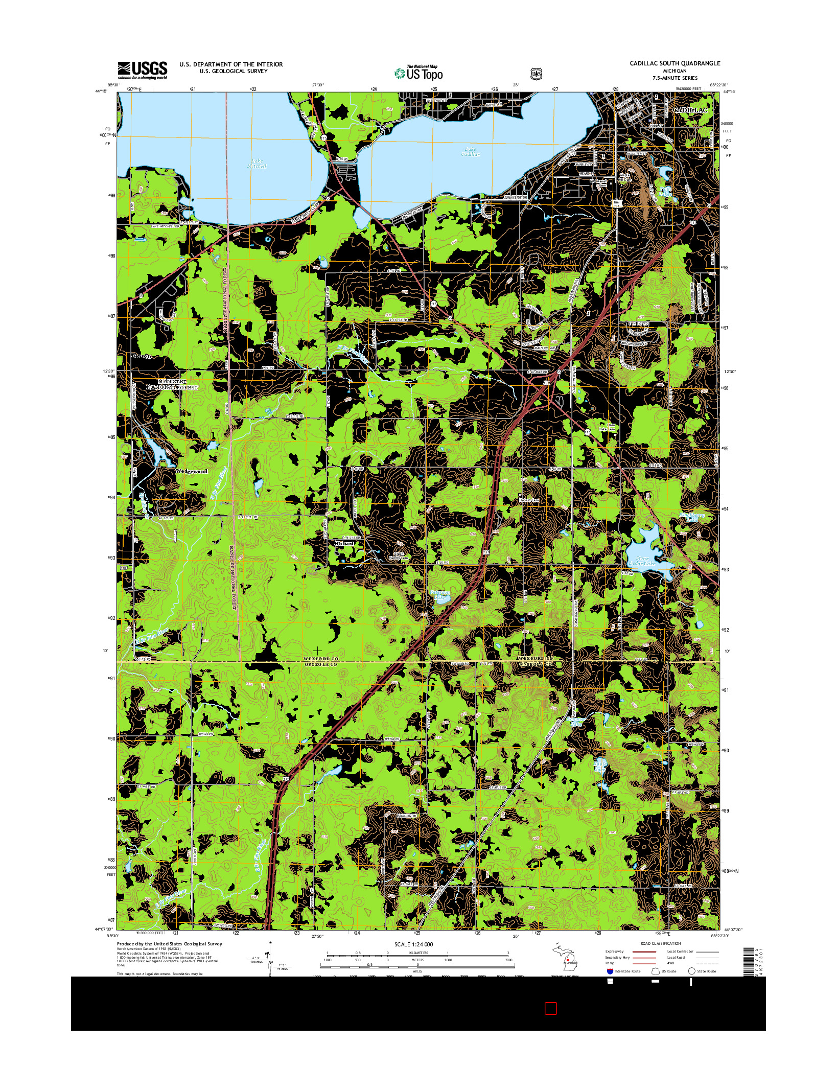 USGS US TOPO 7.5-MINUTE MAP FOR CADILLAC SOUTH, MI 2014