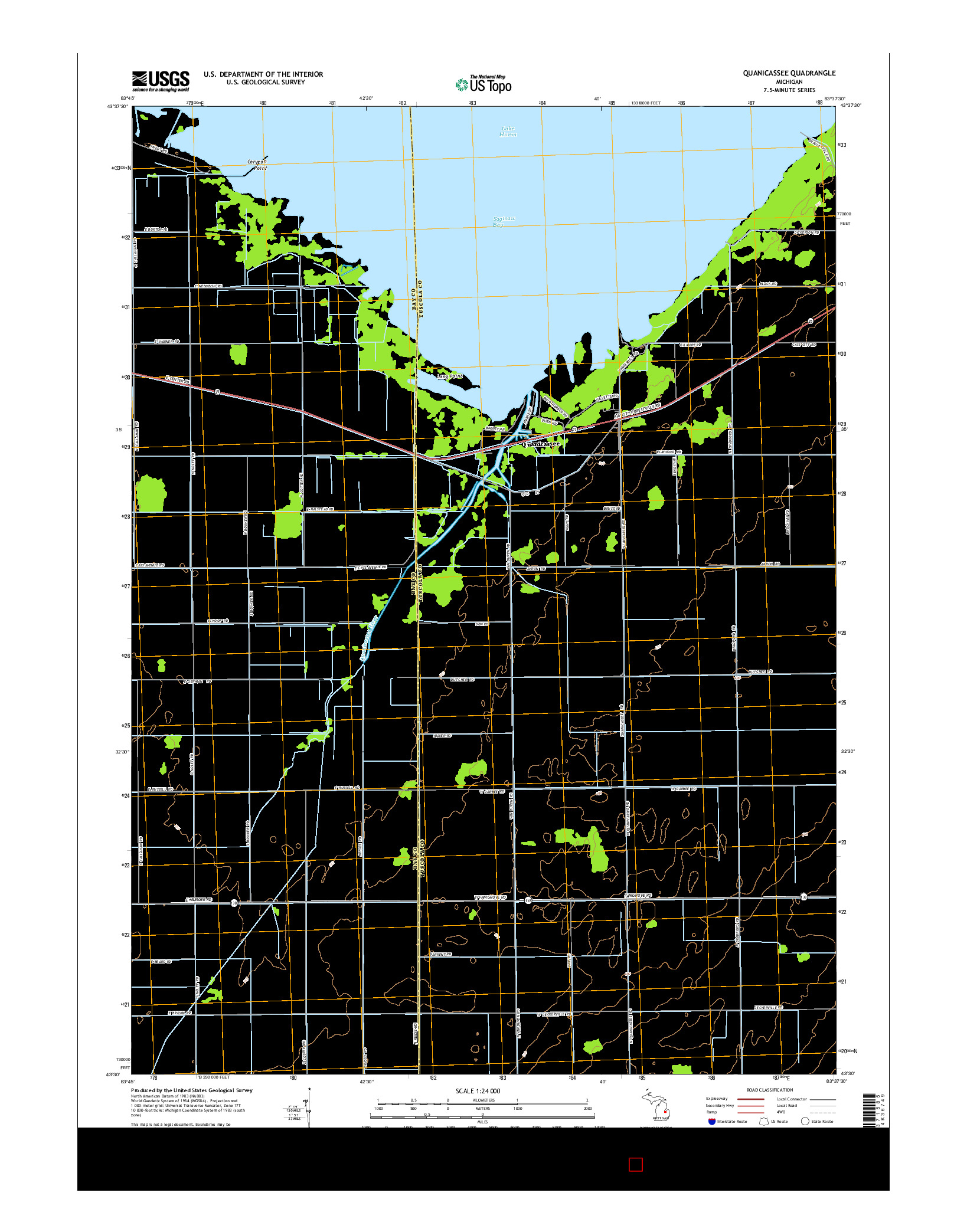 USGS US TOPO 7.5-MINUTE MAP FOR QUANICASSEE, MI 2014