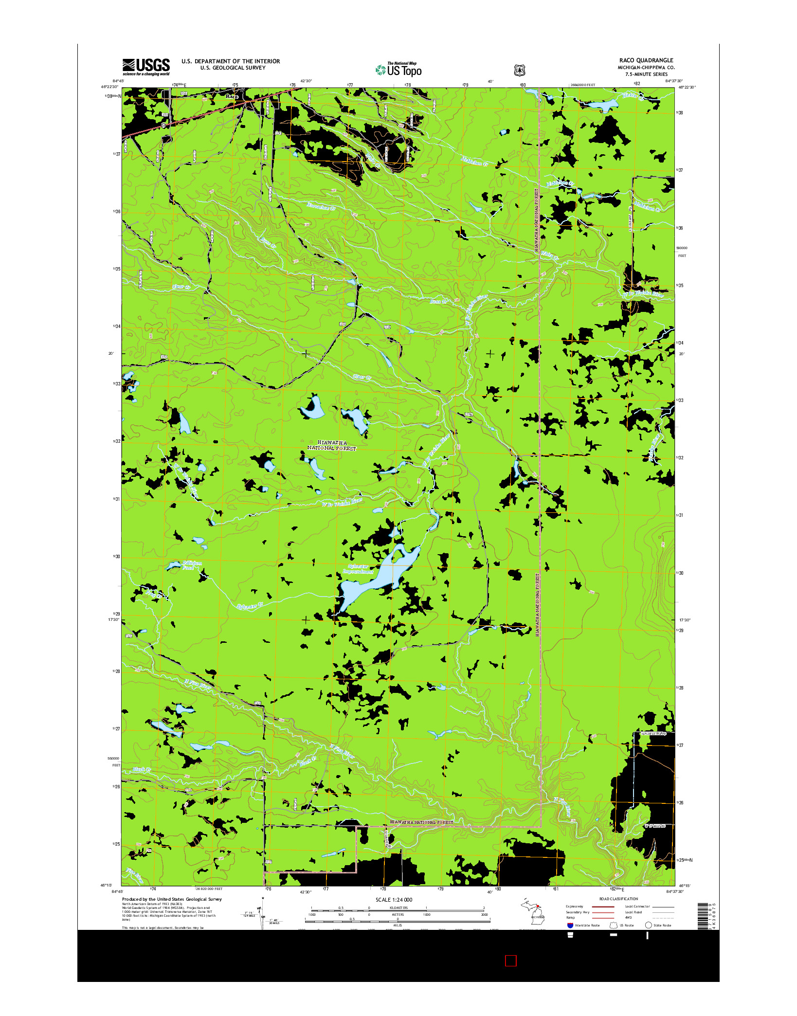 USGS US TOPO 7.5-MINUTE MAP FOR RACO, MI 2014