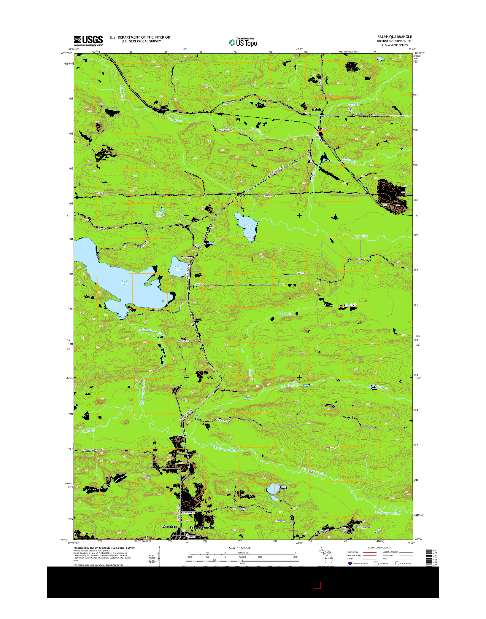 USGS US TOPO 7.5-MINUTE MAP FOR RALPH, MI 2014