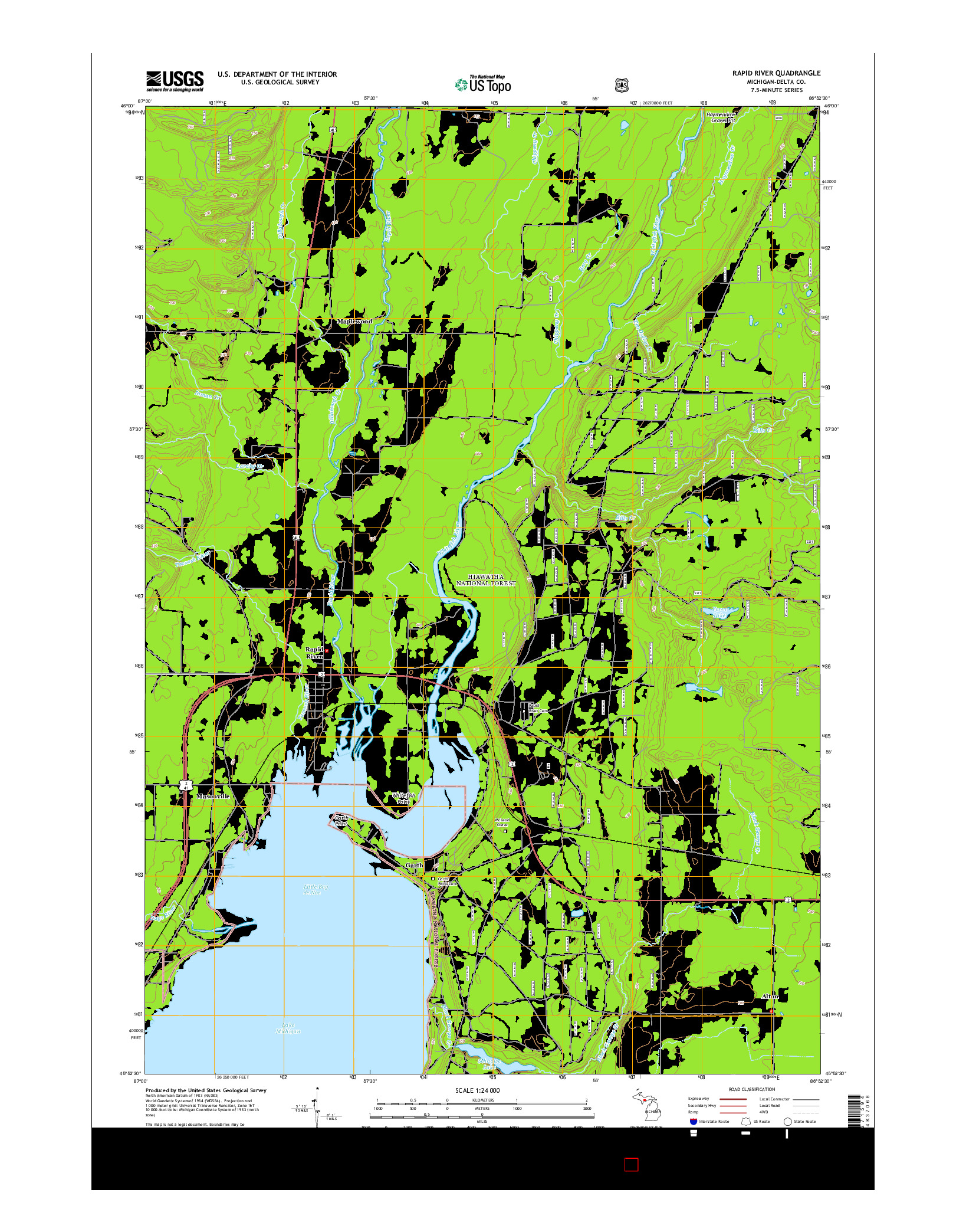 USGS US TOPO 7.5-MINUTE MAP FOR RAPID RIVER, MI 2014