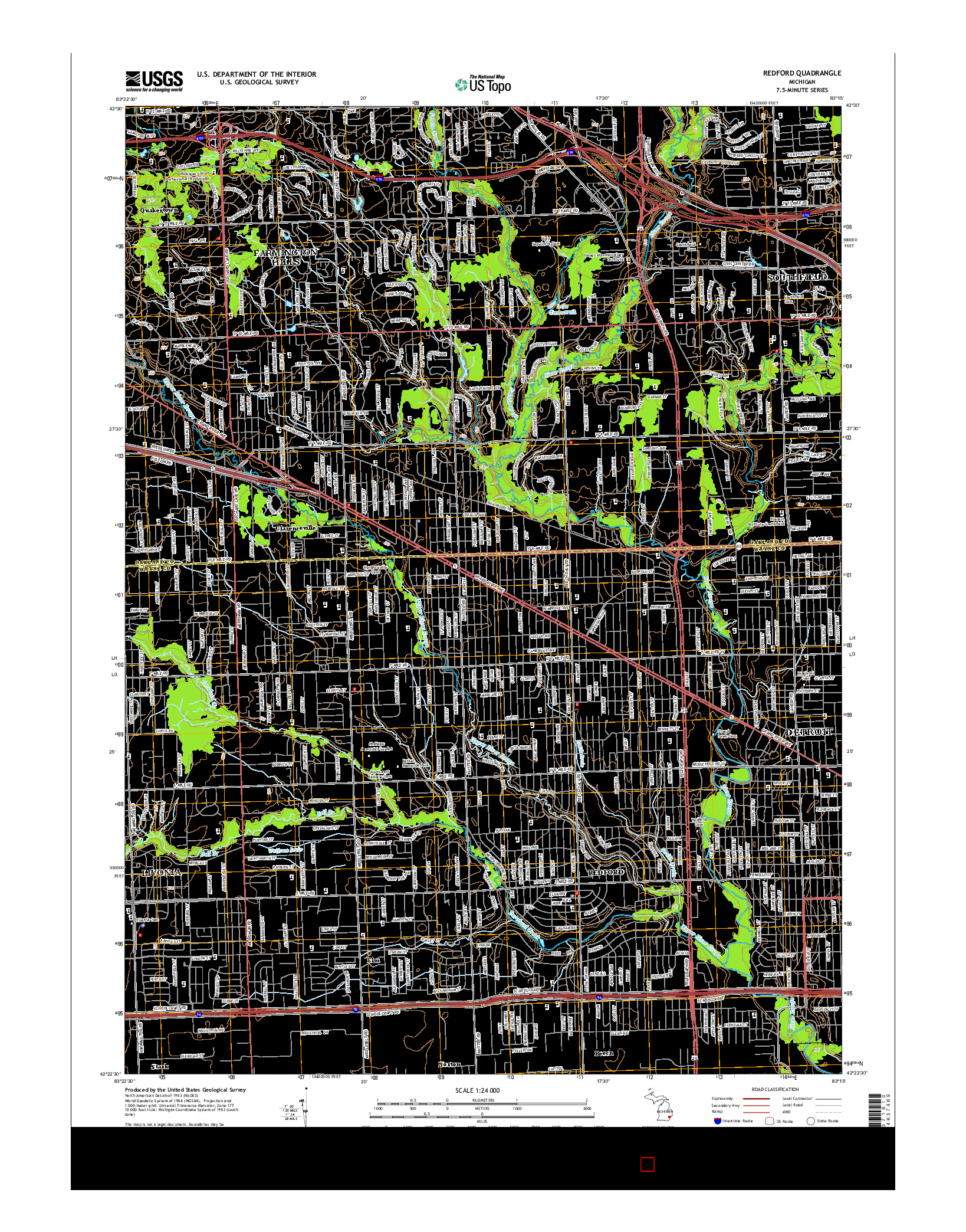 USGS US TOPO 7.5-MINUTE MAP FOR REDFORD, MI 2014