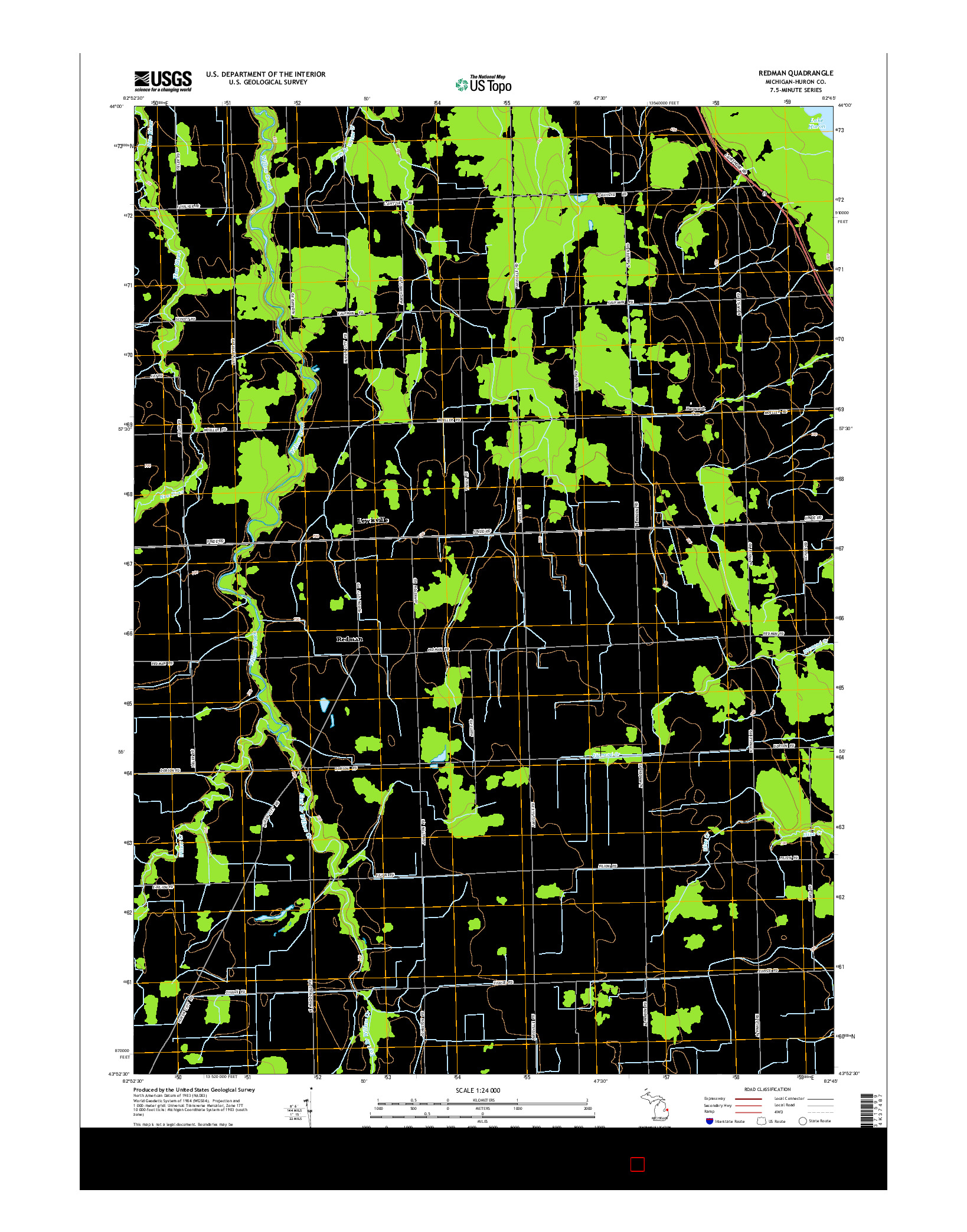 USGS US TOPO 7.5-MINUTE MAP FOR REDMAN, MI 2014