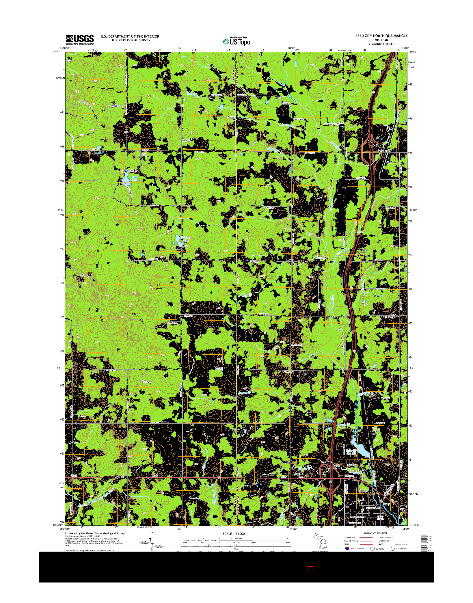 USGS US TOPO 7.5-MINUTE MAP FOR REED CITY NORTH, MI 2014