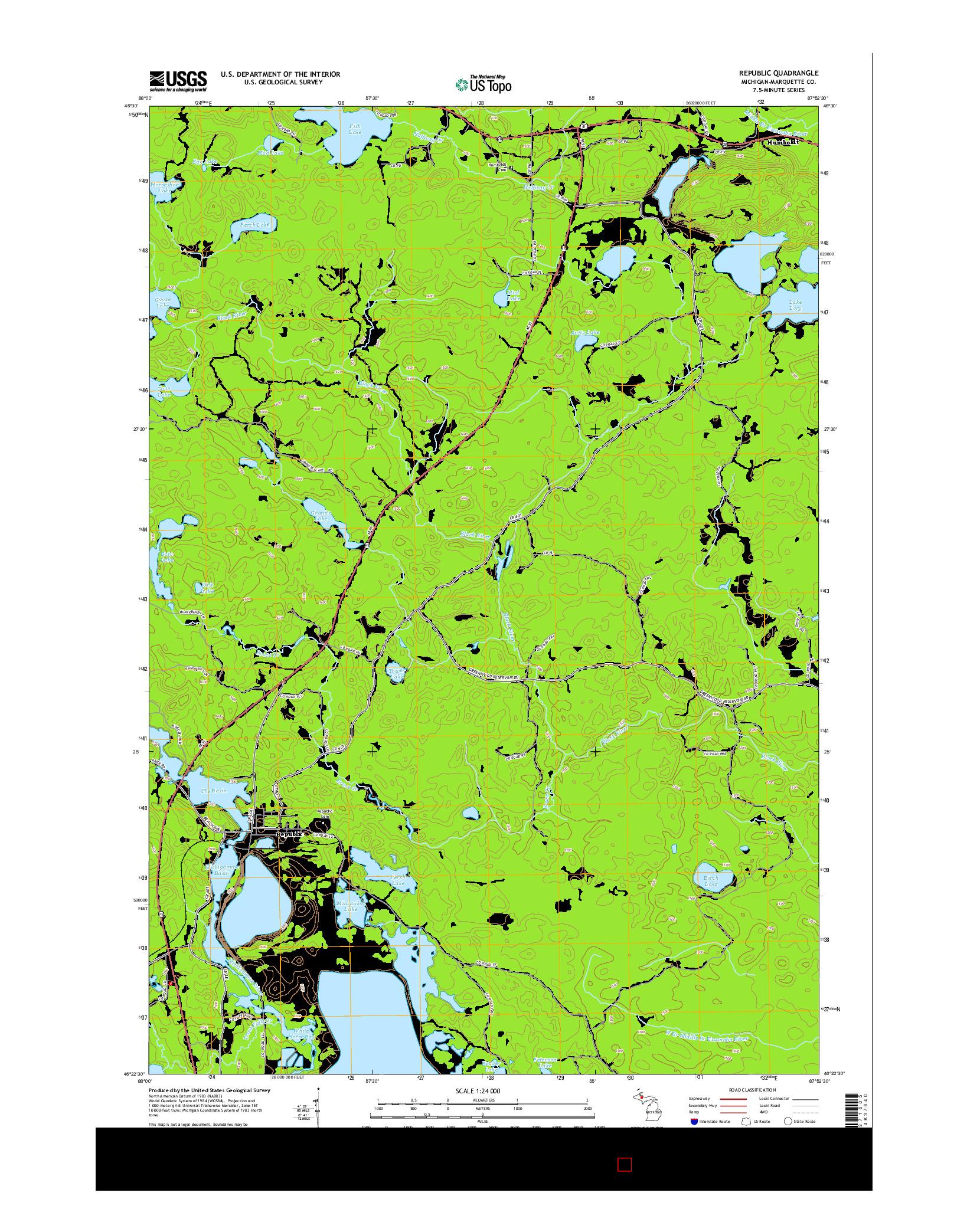 USGS US TOPO 7.5-MINUTE MAP FOR REPUBLIC, MI 2014