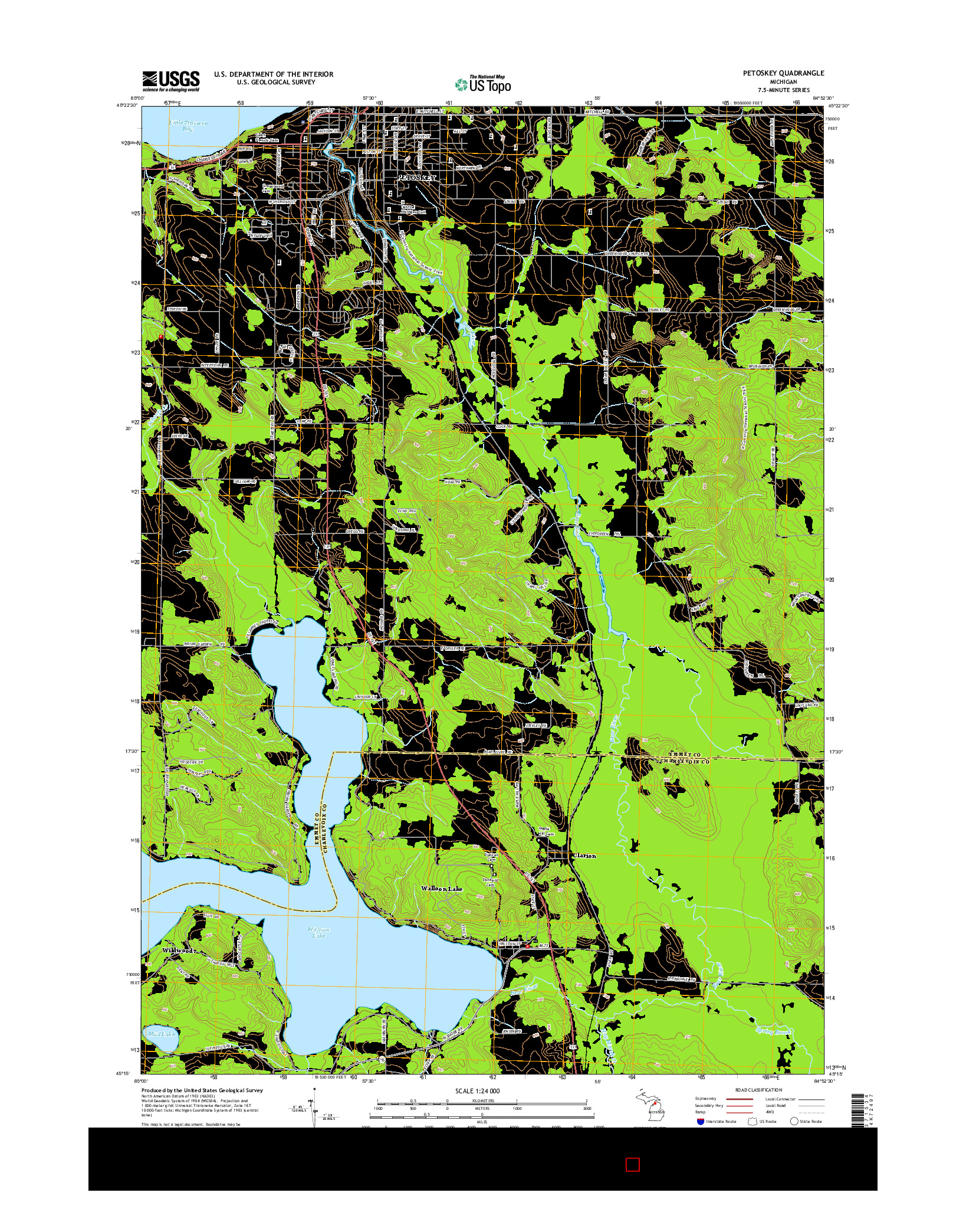 USGS US TOPO 7.5-MINUTE MAP FOR PETOSKEY, MI 2014