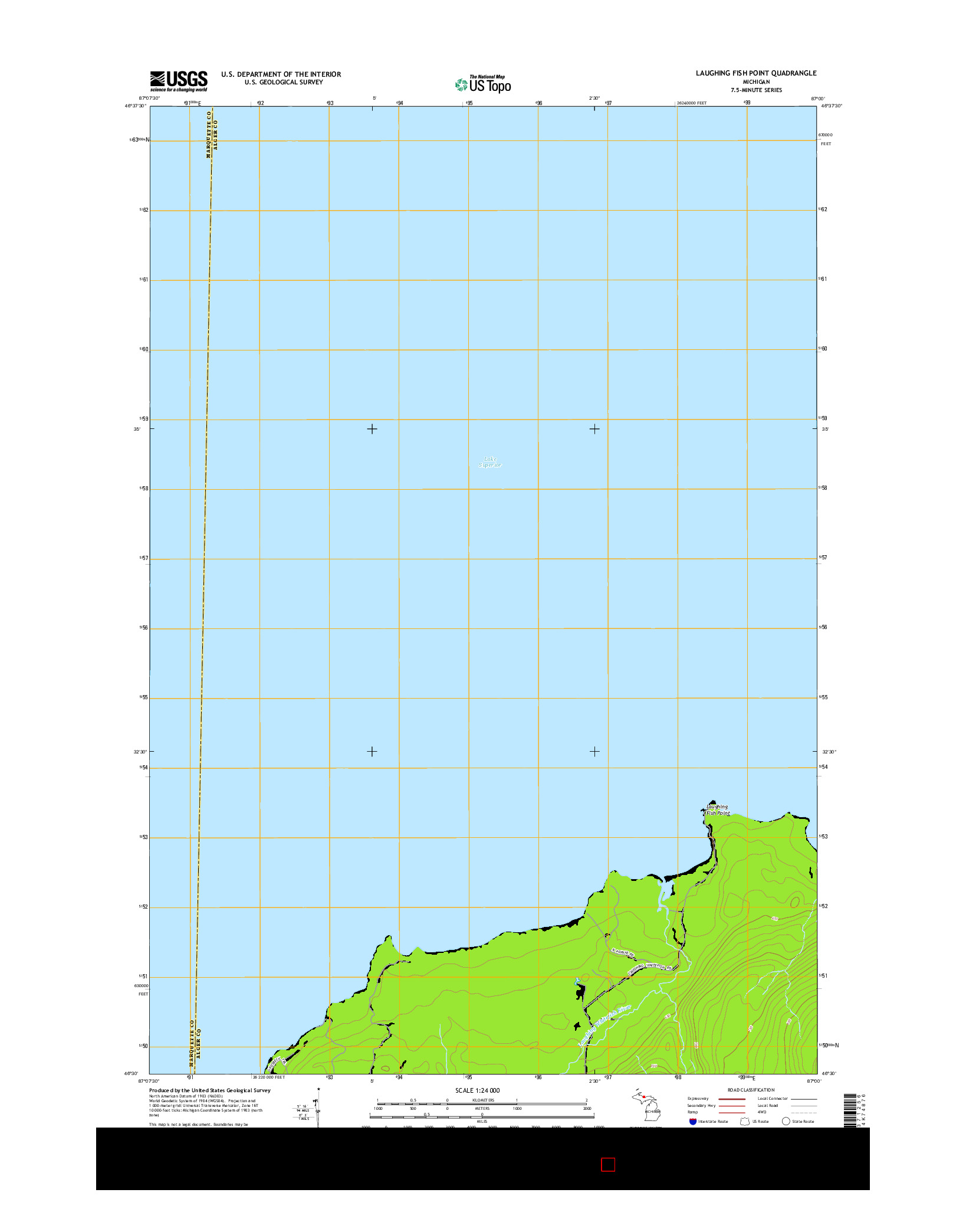 USGS US TOPO 7.5-MINUTE MAP FOR LAUGHING FISH POINT, MI 2014