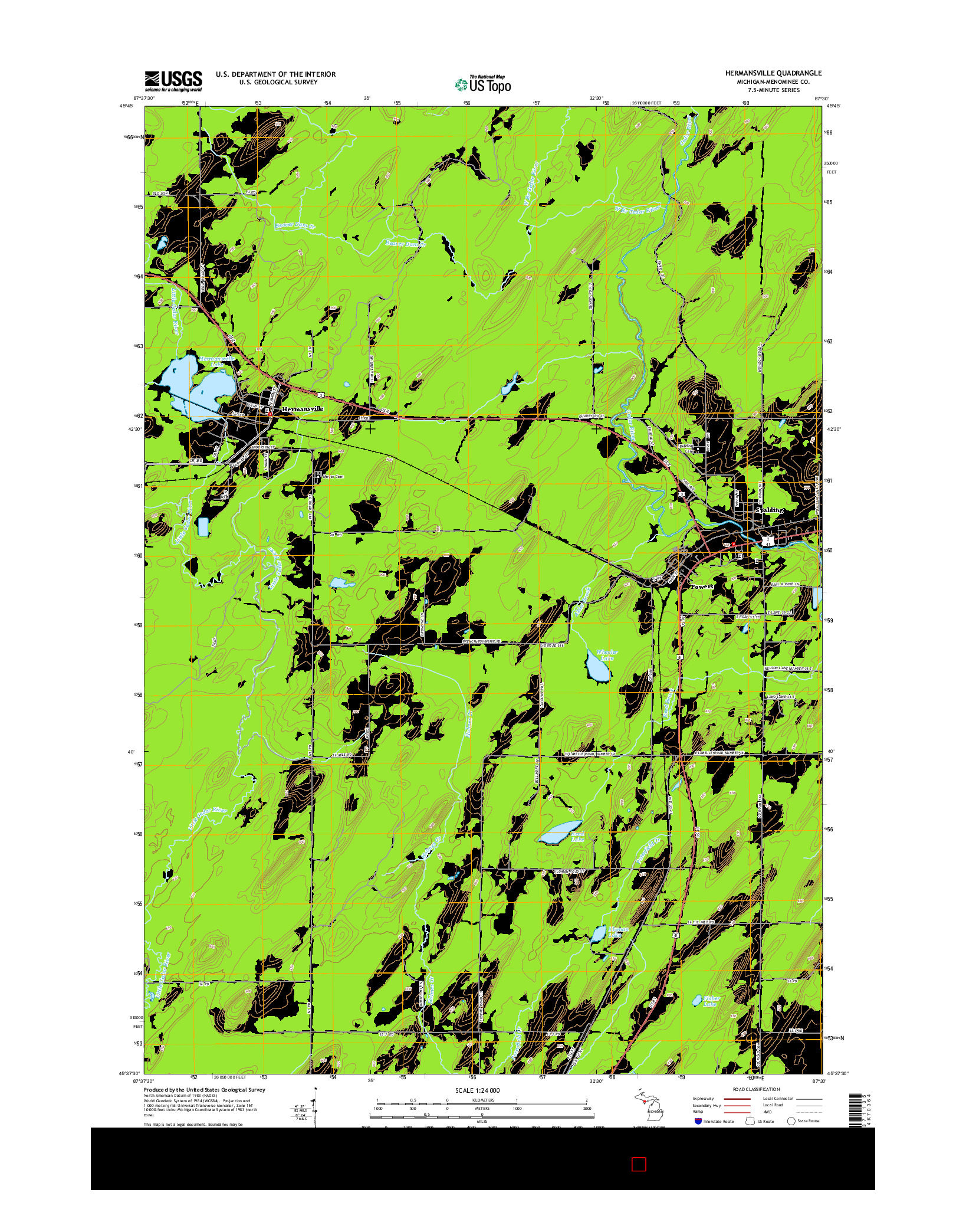 USGS US TOPO 7.5-MINUTE MAP FOR HERMANSVILLE, MI 2014