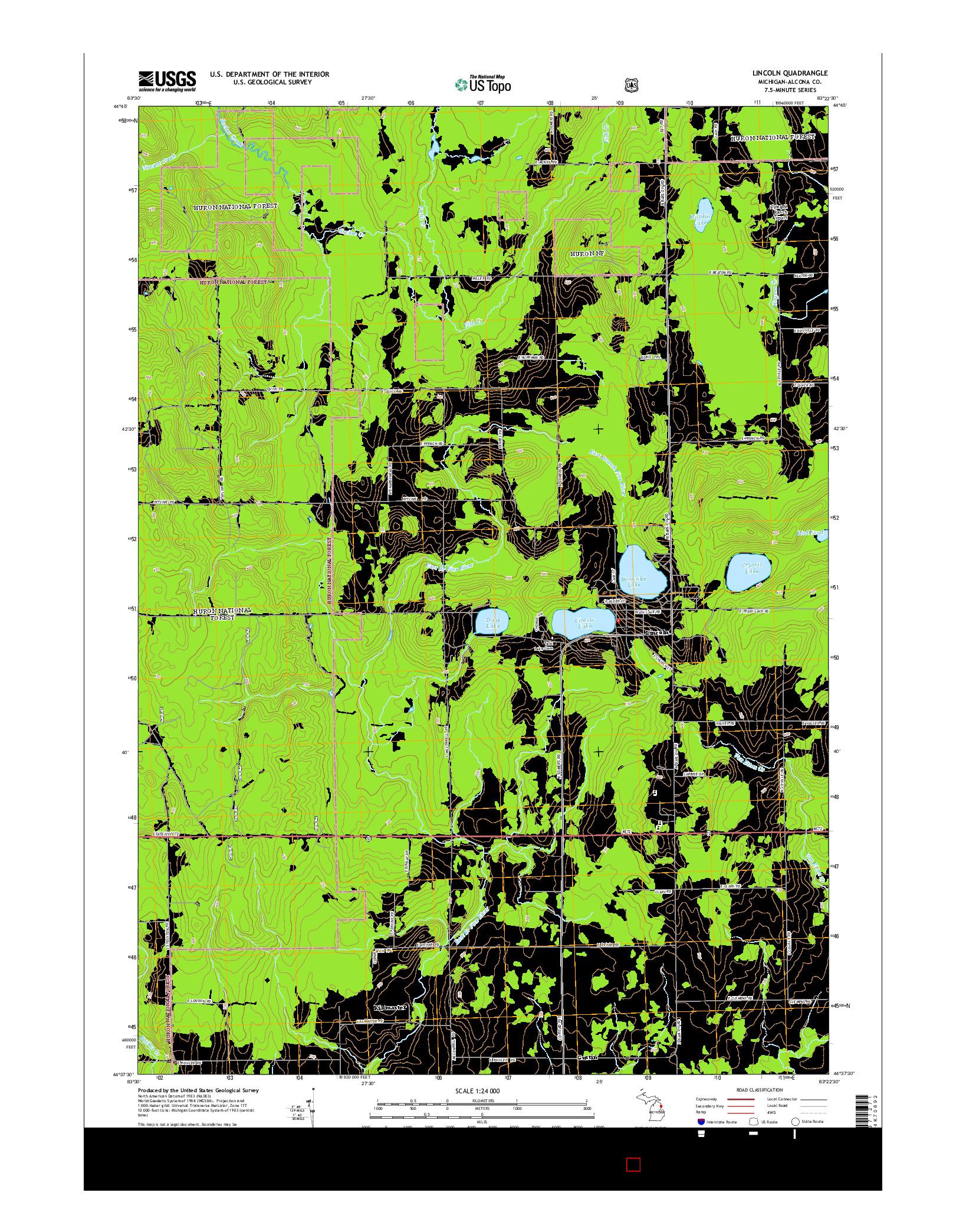 USGS US TOPO 7.5-MINUTE MAP FOR LINCOLN, MI 2014