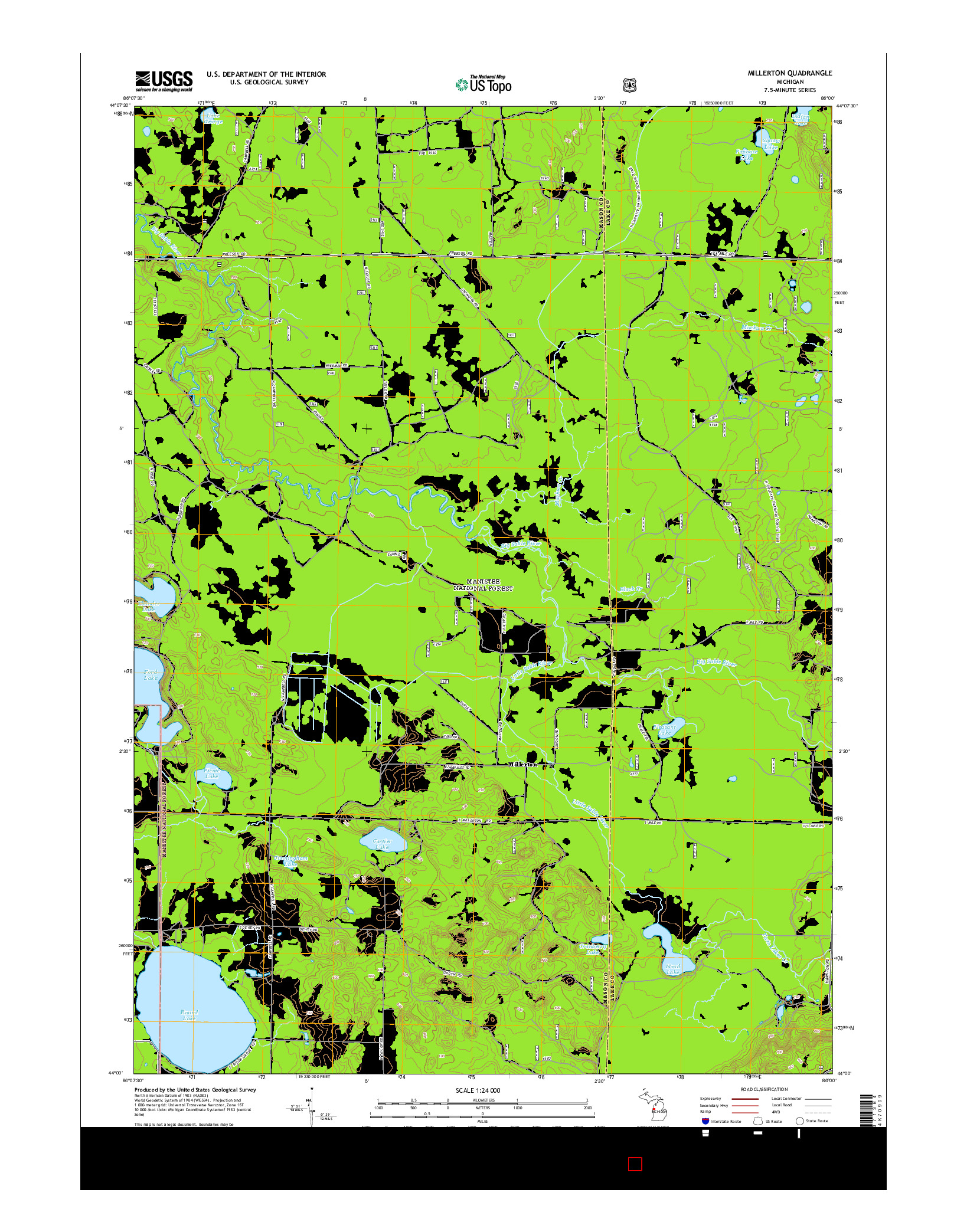 USGS US TOPO 7.5-MINUTE MAP FOR MILLERTON, MI 2014