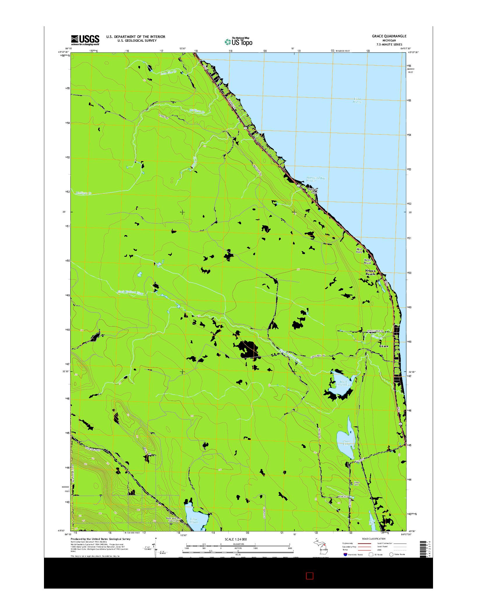 USGS US TOPO 7.5-MINUTE MAP FOR GRACE, MI 2014