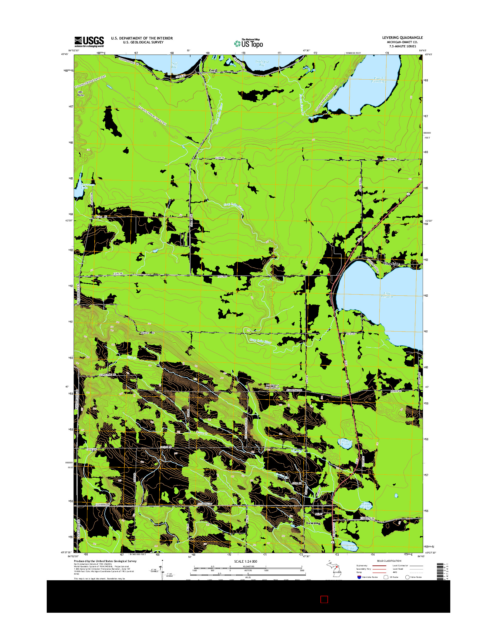 USGS US TOPO 7.5-MINUTE MAP FOR LEVERING, MI 2014