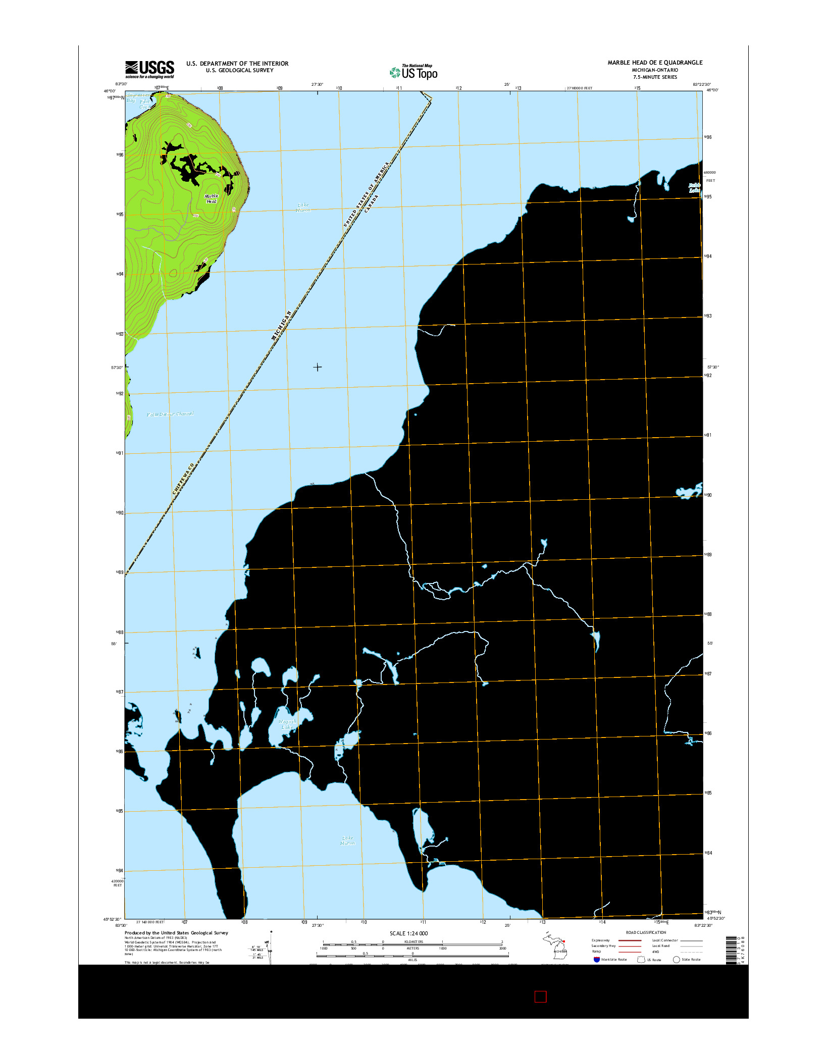 USGS US TOPO 7.5-MINUTE MAP FOR MARBLE HEAD OE E, MI-ON 2014
