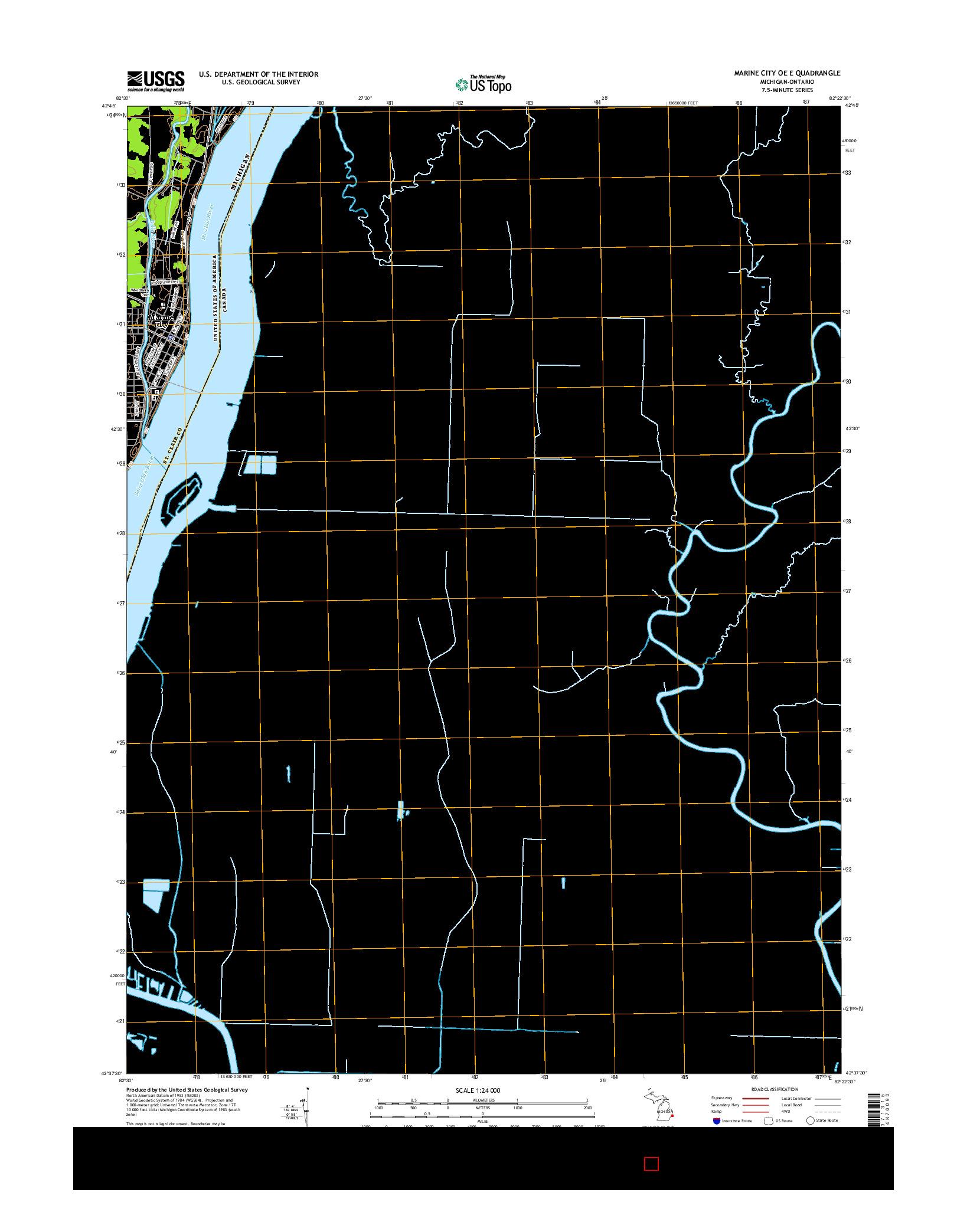 USGS US TOPO 7.5-MINUTE MAP FOR MARINE CITY OE E, MI-ON 2014