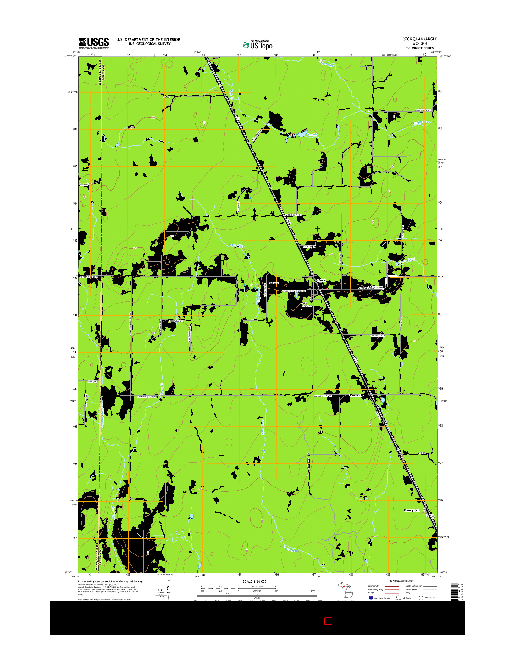 USGS US TOPO 7.5-MINUTE MAP FOR ROCK, MI 2014