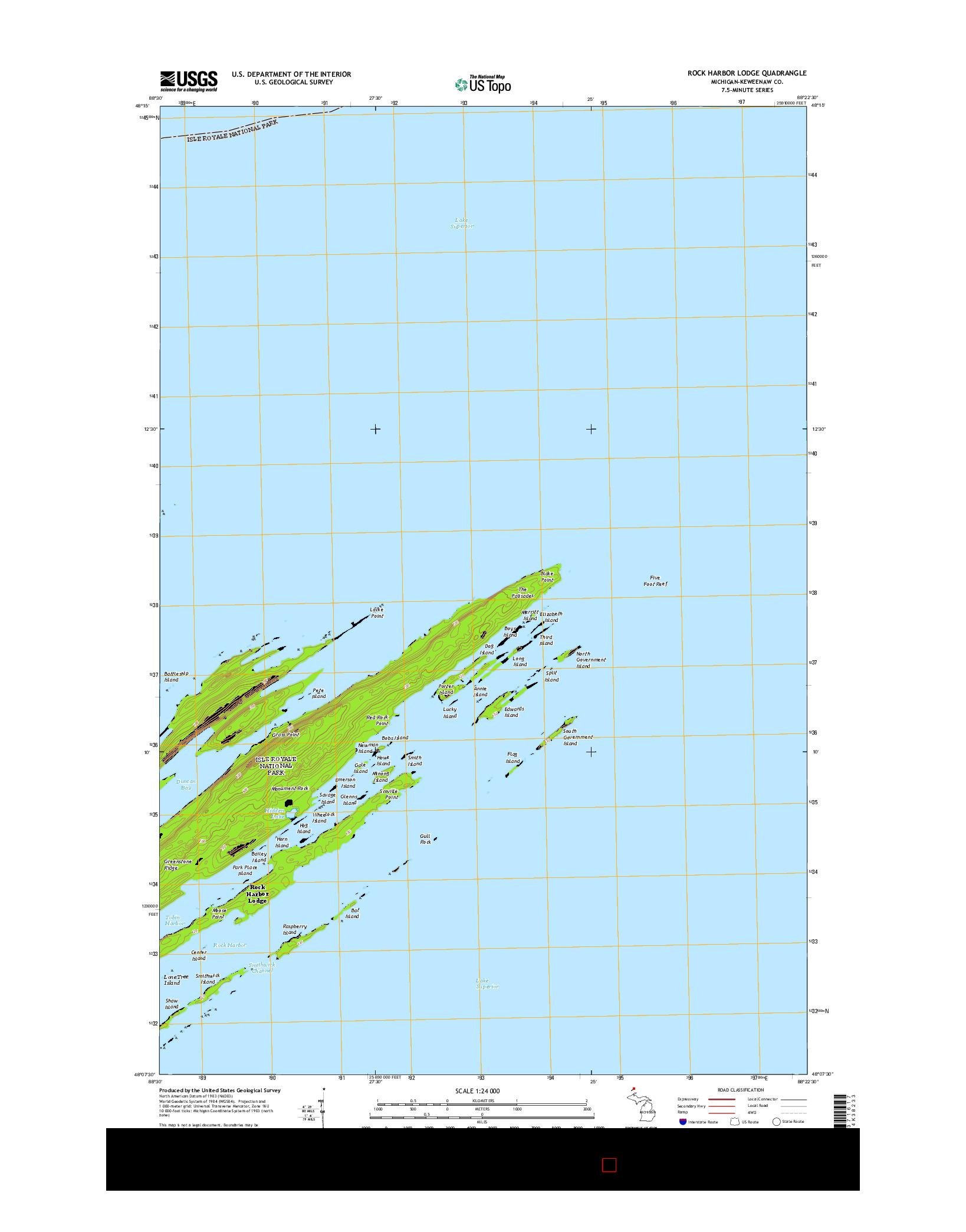 USGS US TOPO 7.5-MINUTE MAP FOR ROCK HARBOR LODGE, MI 2014