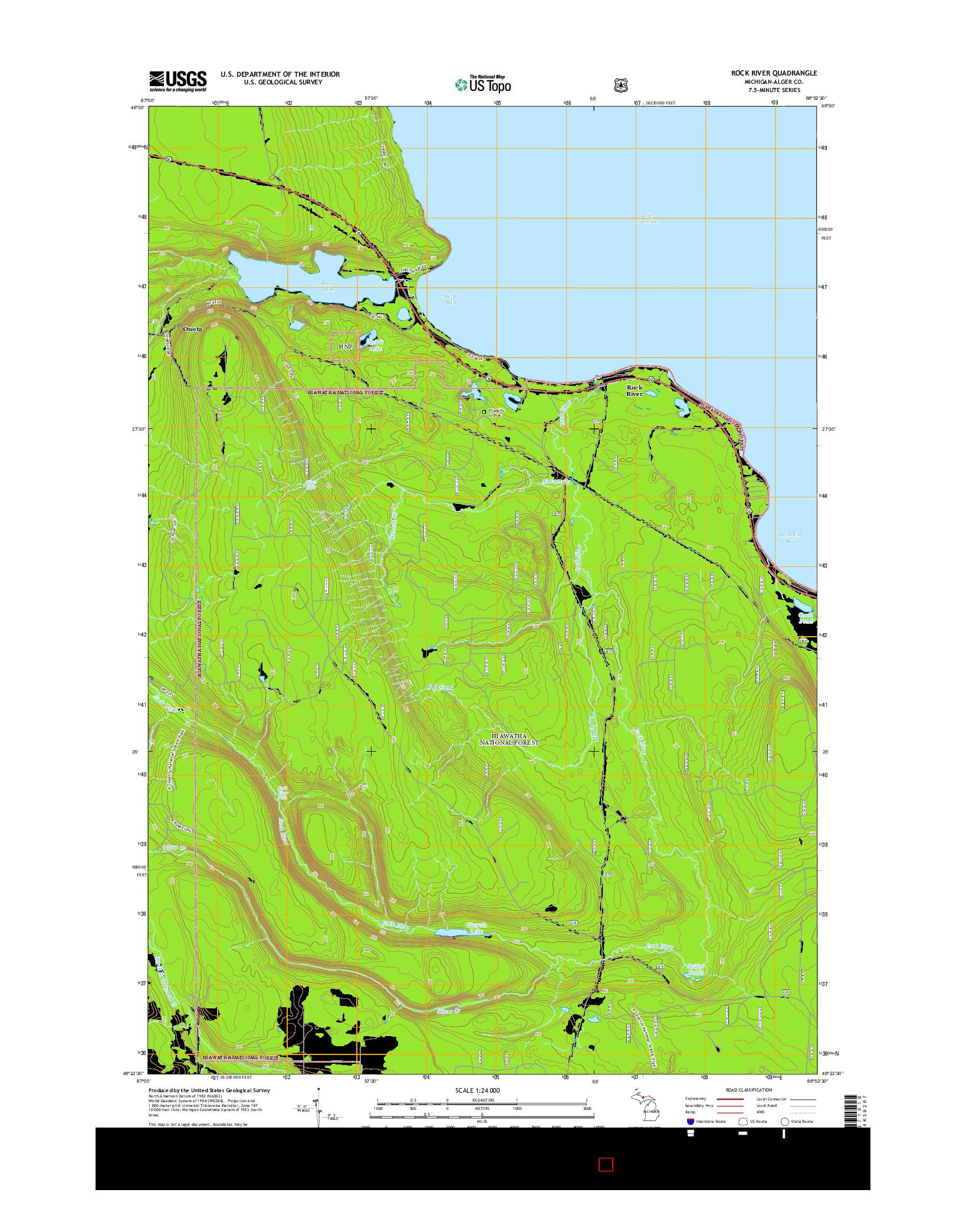 USGS US TOPO 7.5-MINUTE MAP FOR ROCK RIVER, MI 2014