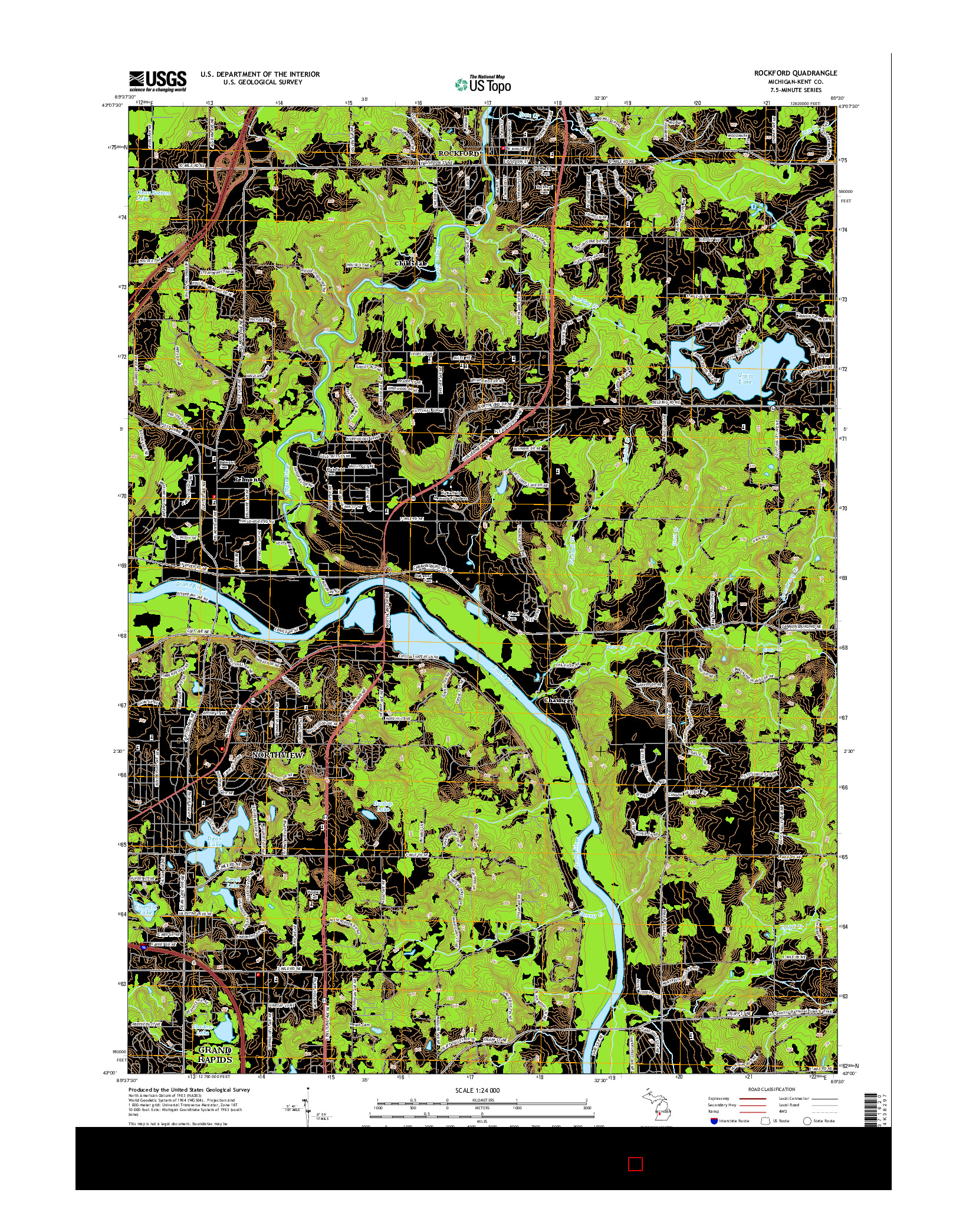 USGS US TOPO 7.5-MINUTE MAP FOR ROCKFORD, MI 2014