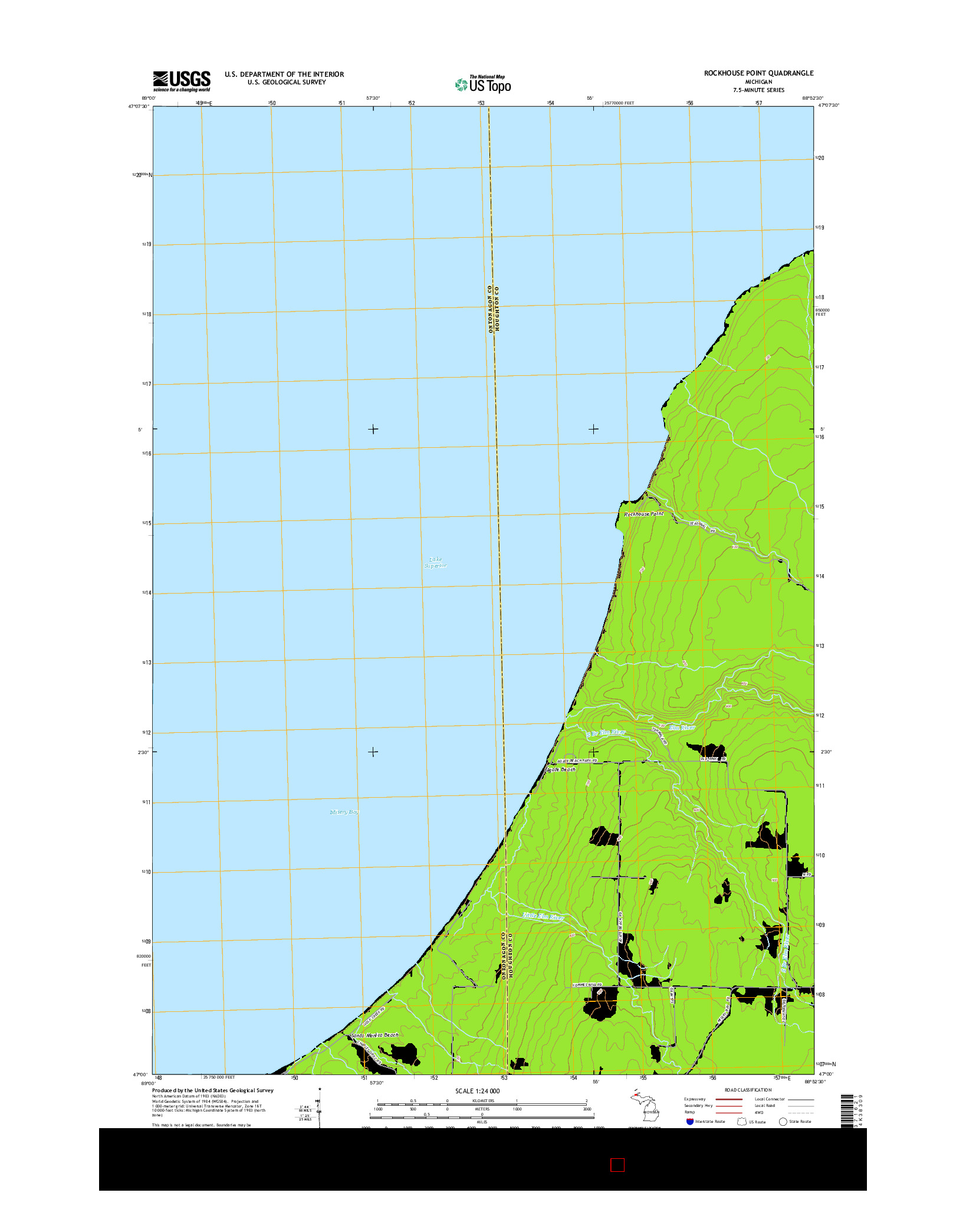 USGS US TOPO 7.5-MINUTE MAP FOR ROCKHOUSE POINT, MI 2014