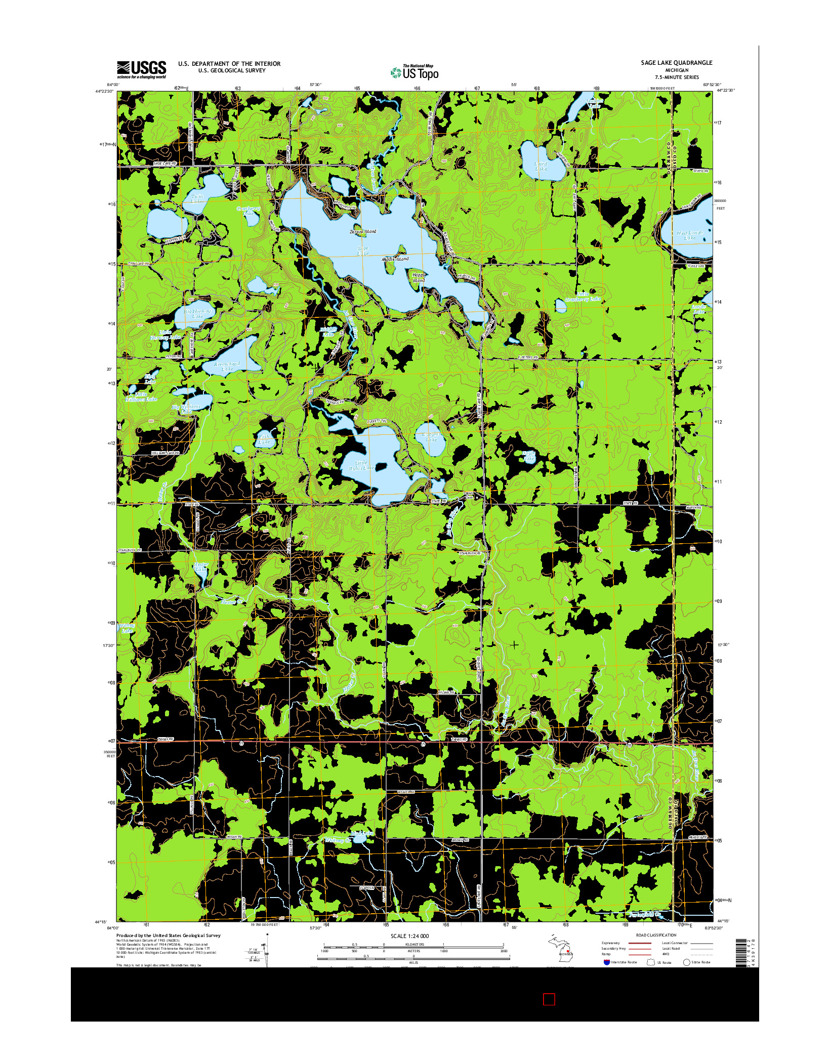 USGS US TOPO 7.5-MINUTE MAP FOR SAGE LAKE, MI 2014