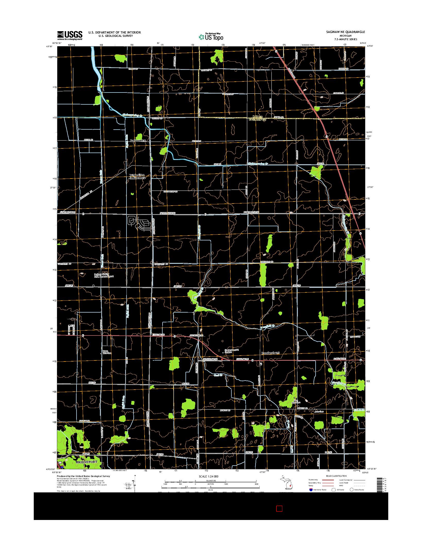 USGS US TOPO 7.5-MINUTE MAP FOR SAGINAW NE, MI 2014