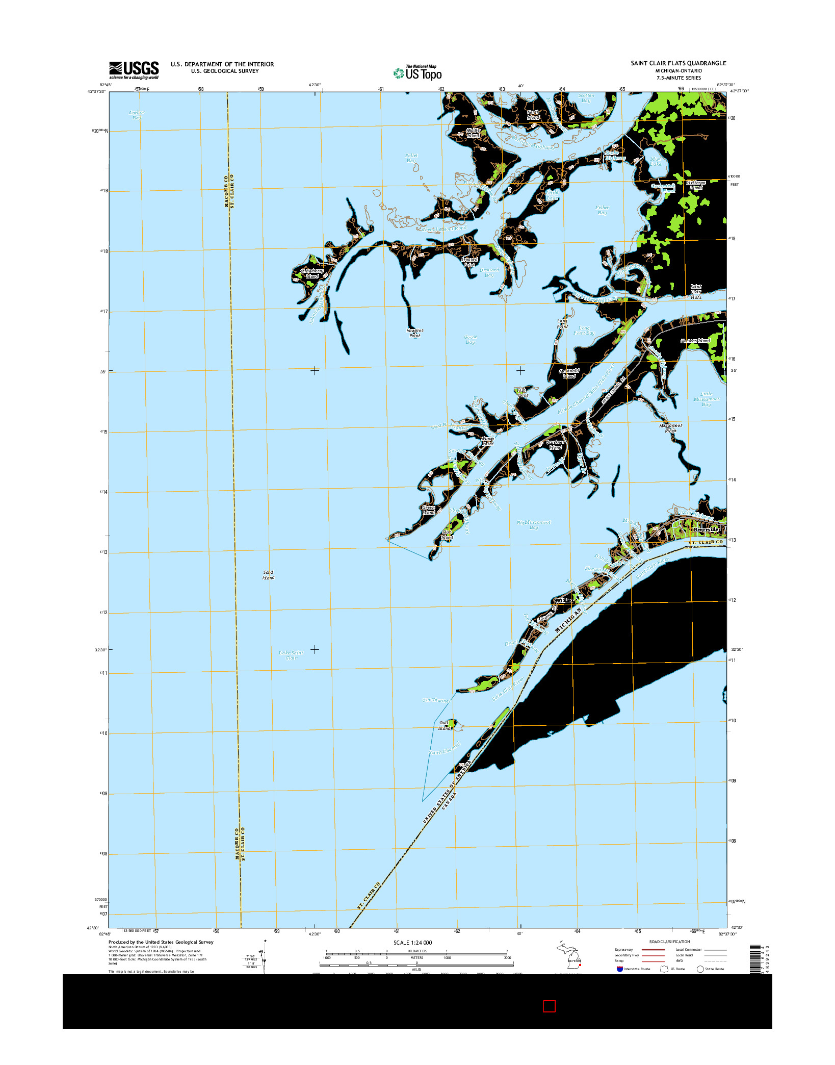 USGS US TOPO 7.5-MINUTE MAP FOR SAINT CLAIR FLATS, MI-ON 2014