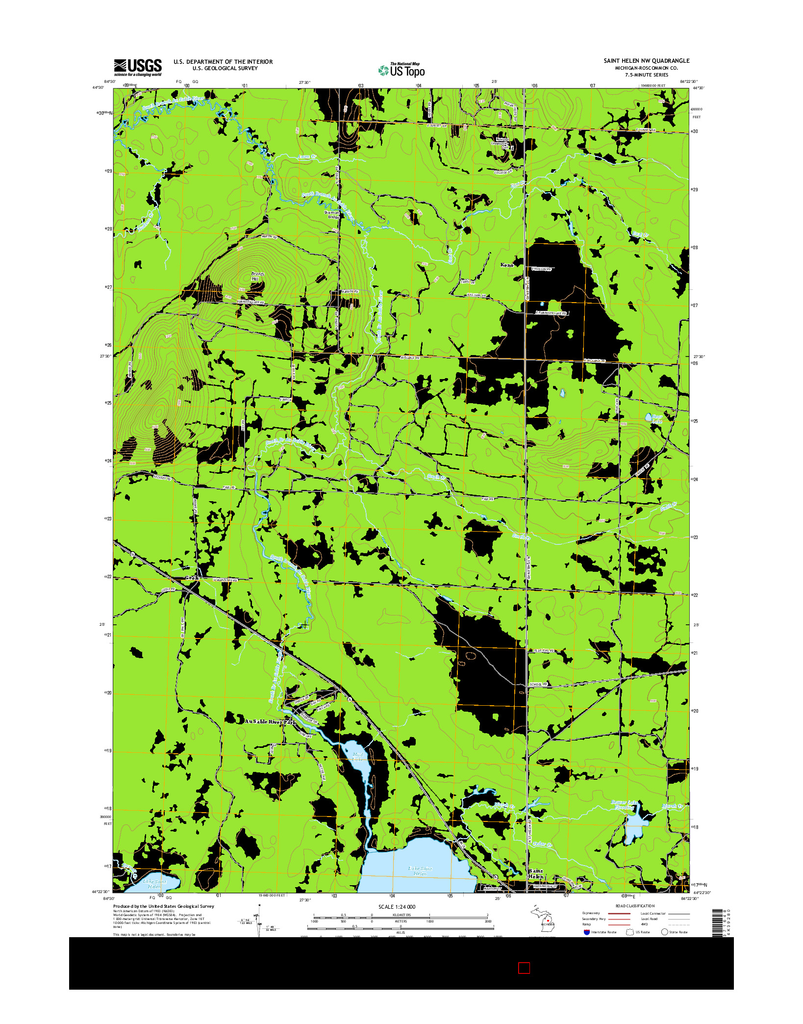 USGS US TOPO 7.5-MINUTE MAP FOR SAINT HELEN NW, MI 2014