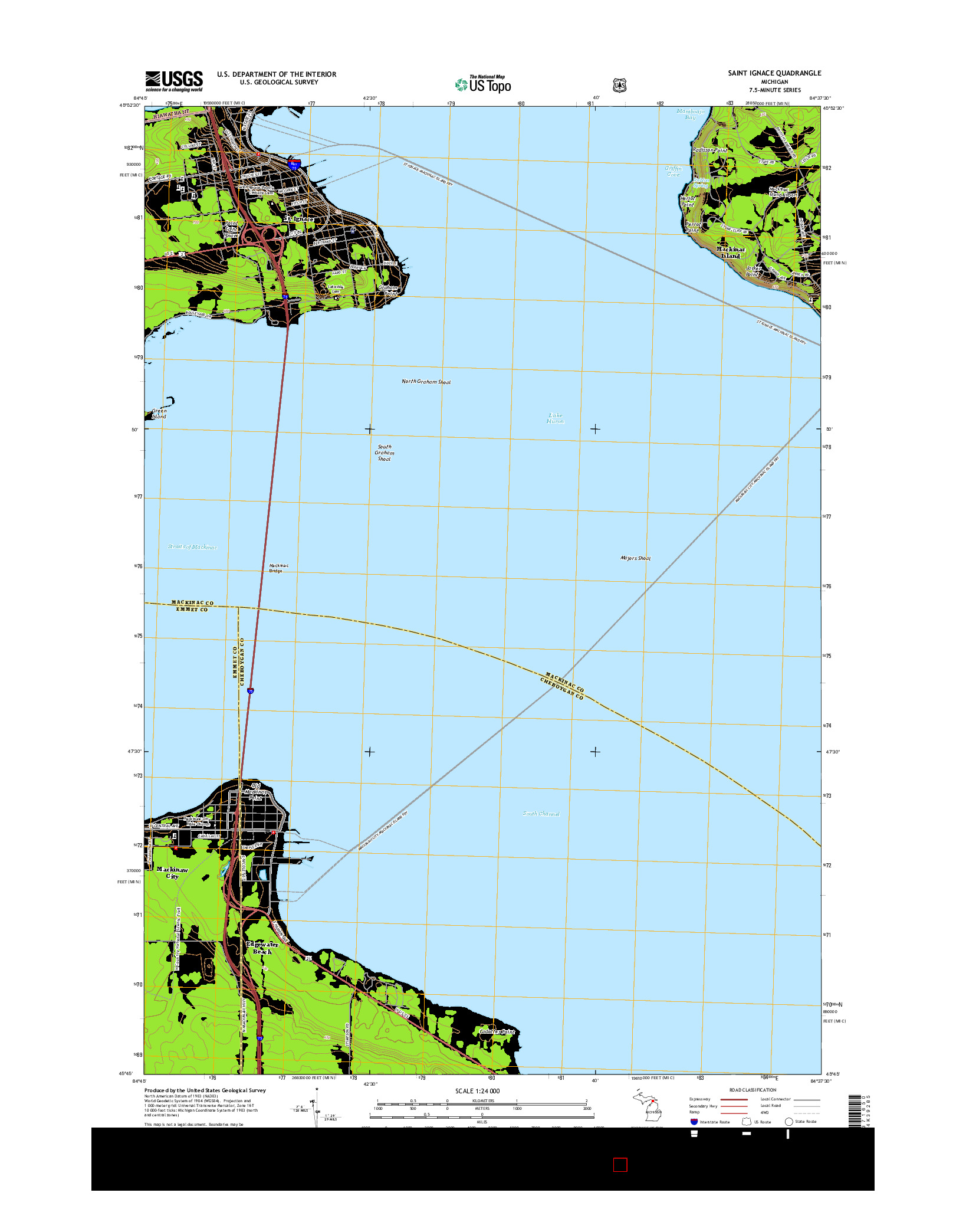 USGS US TOPO 7.5-MINUTE MAP FOR SAINT IGNACE, MI 2014