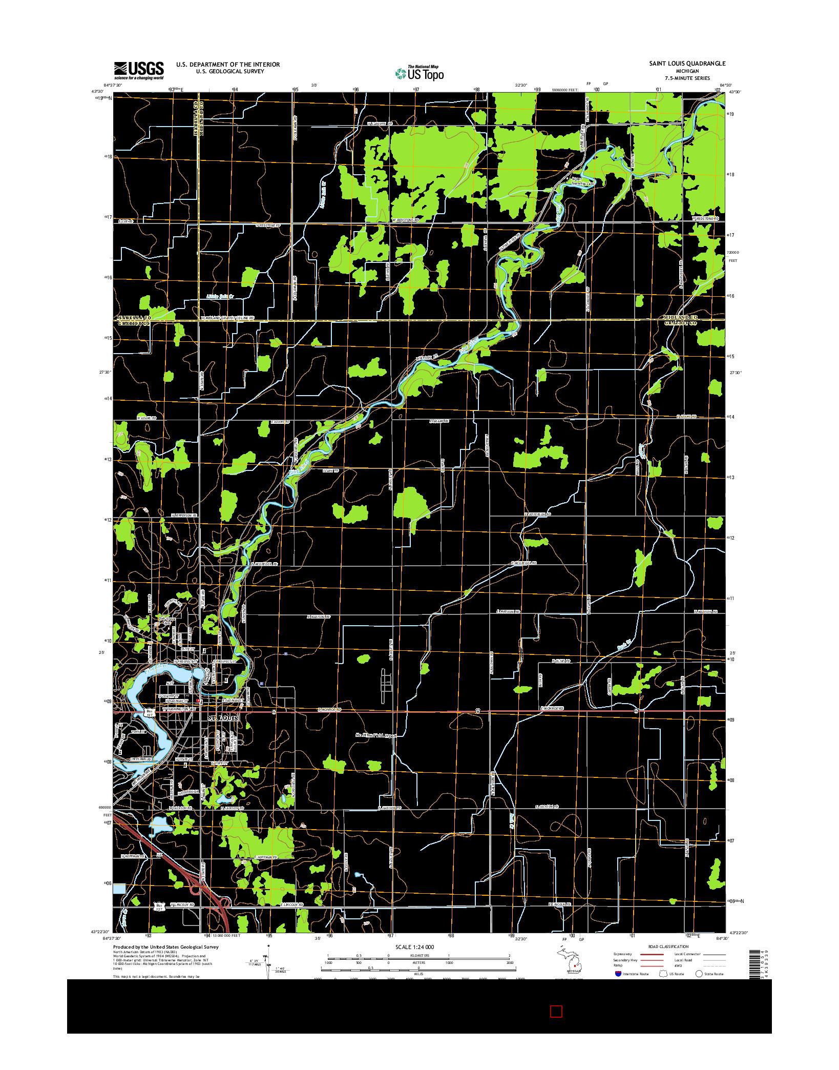 USGS US TOPO 7.5-MINUTE MAP FOR SAINT LOUIS, MI 2014