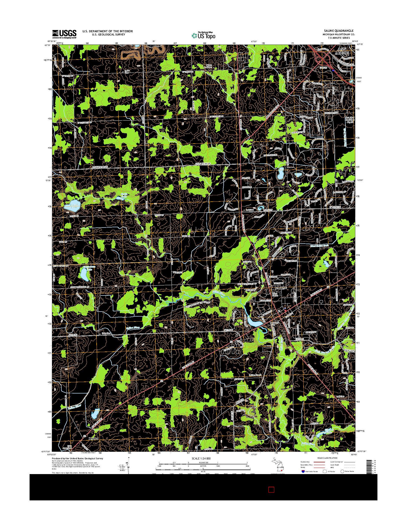 USGS US TOPO 7.5-MINUTE MAP FOR SALINE, MI 2014