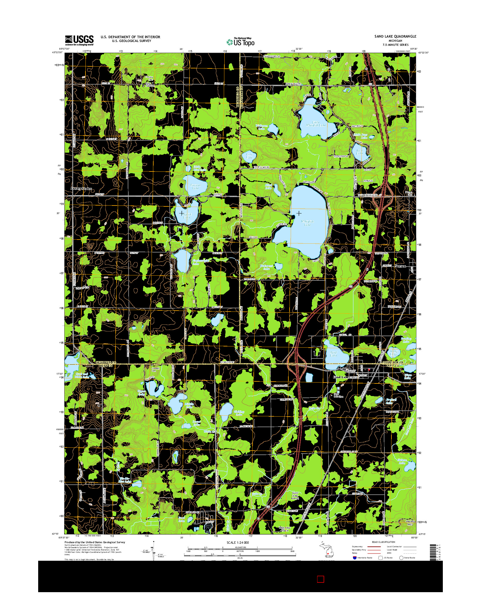USGS US TOPO 7.5-MINUTE MAP FOR SAND LAKE, MI 2014