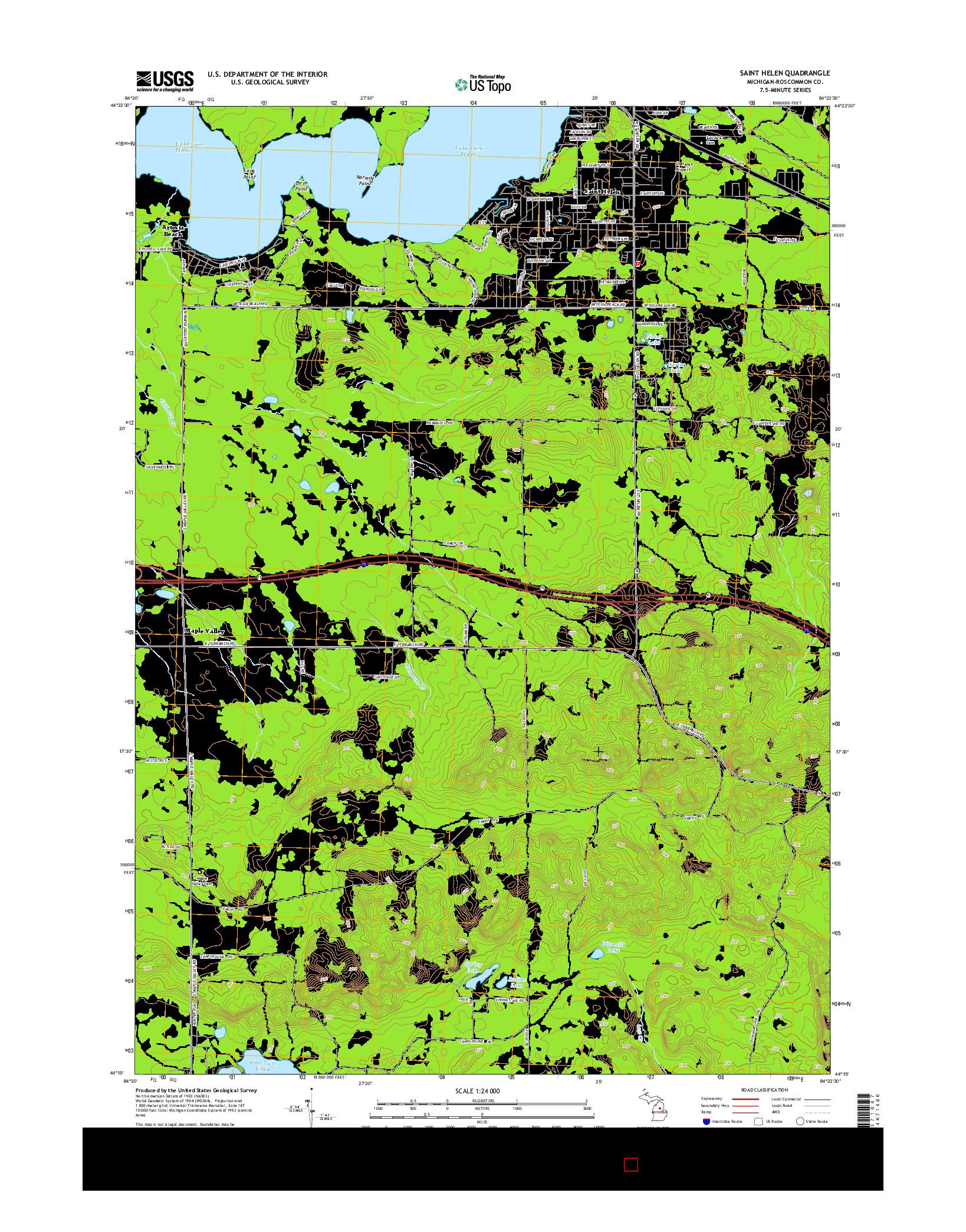 USGS US TOPO 7.5-MINUTE MAP FOR SAINT HELEN, MI 2014